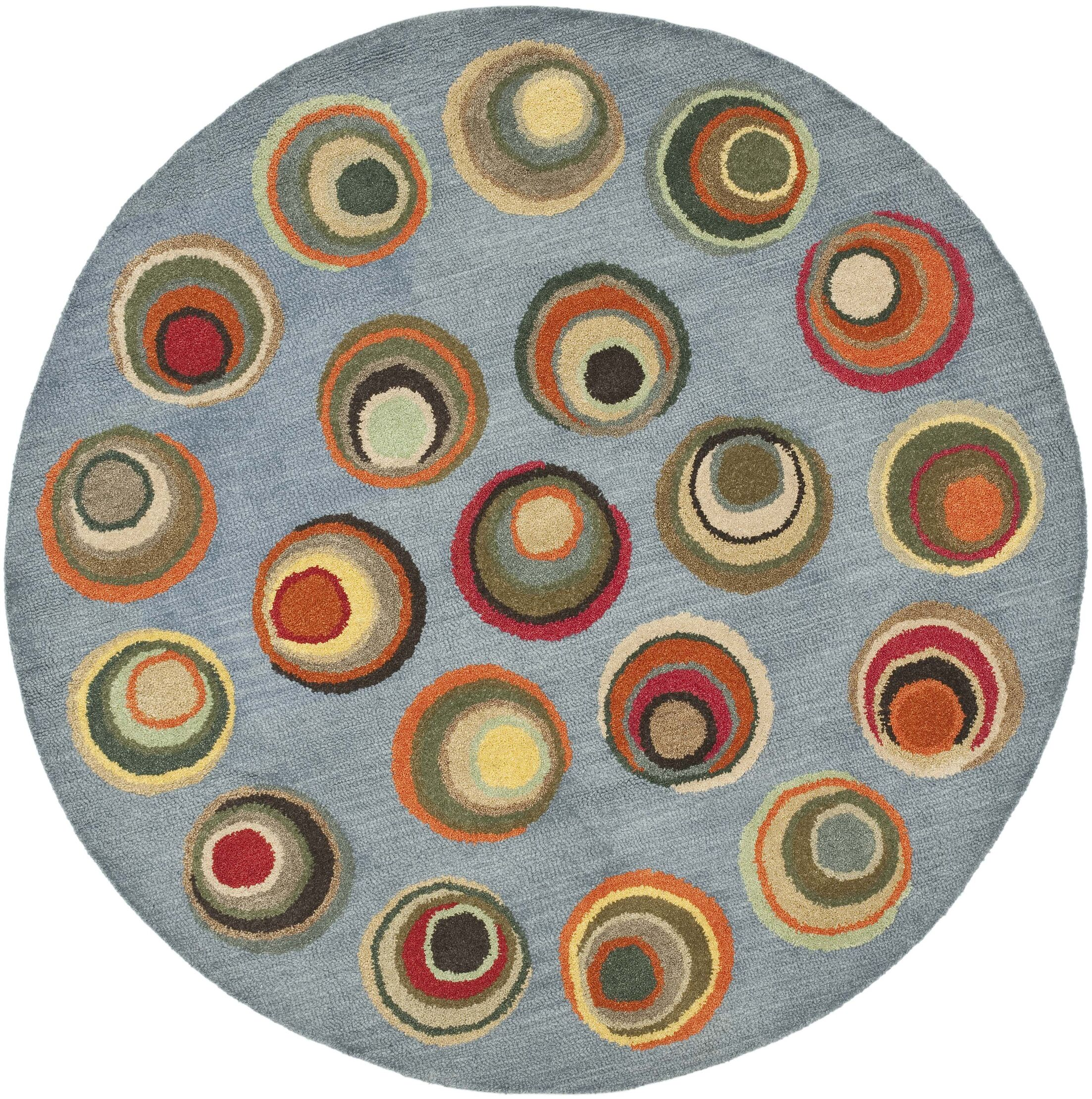 Lockwood Dark Light Blue / Multi Contemporary Rug Rug Size: Round 6'
