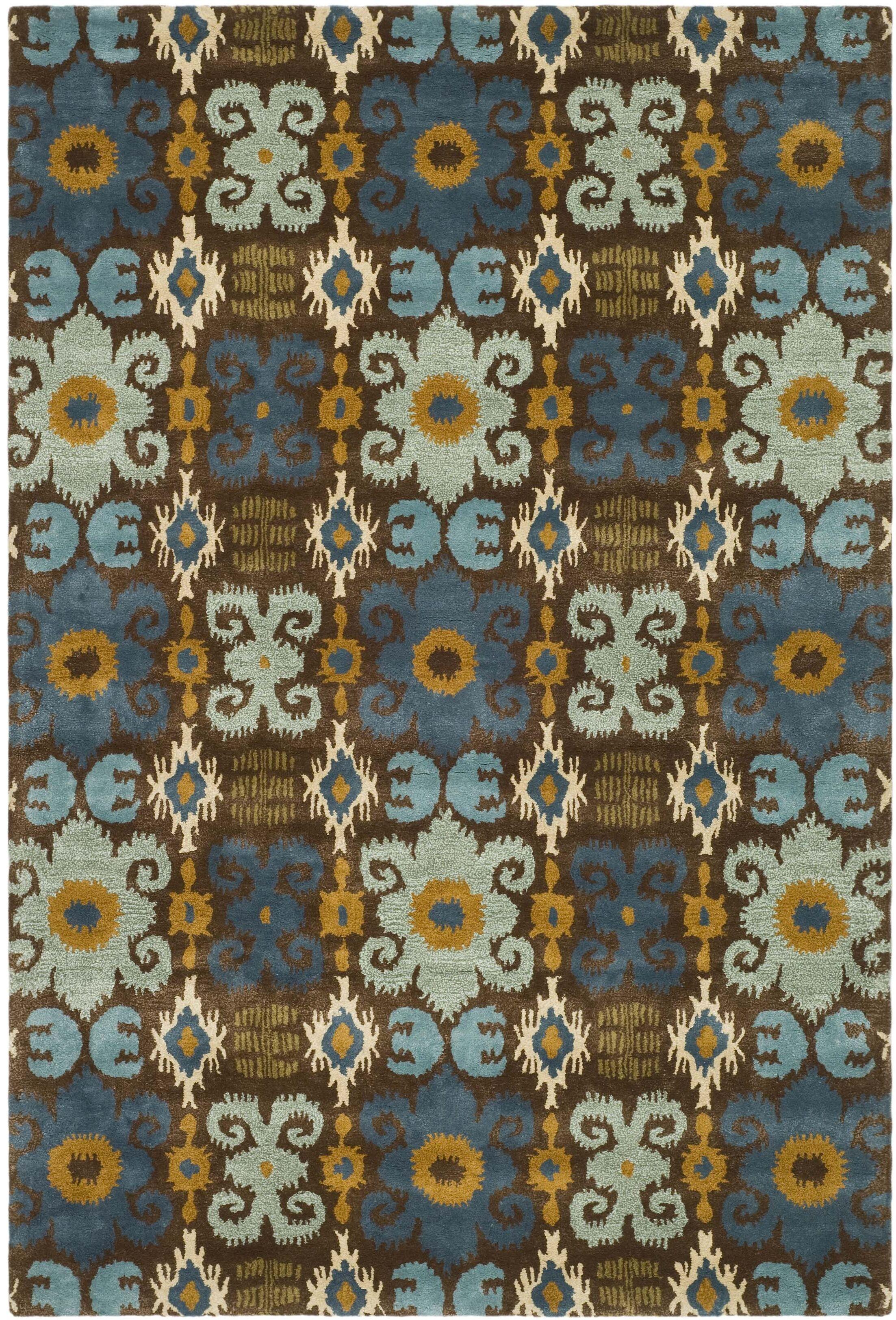 Alvan Brown/Blue Rug Rug Size: Rectangle 9'6