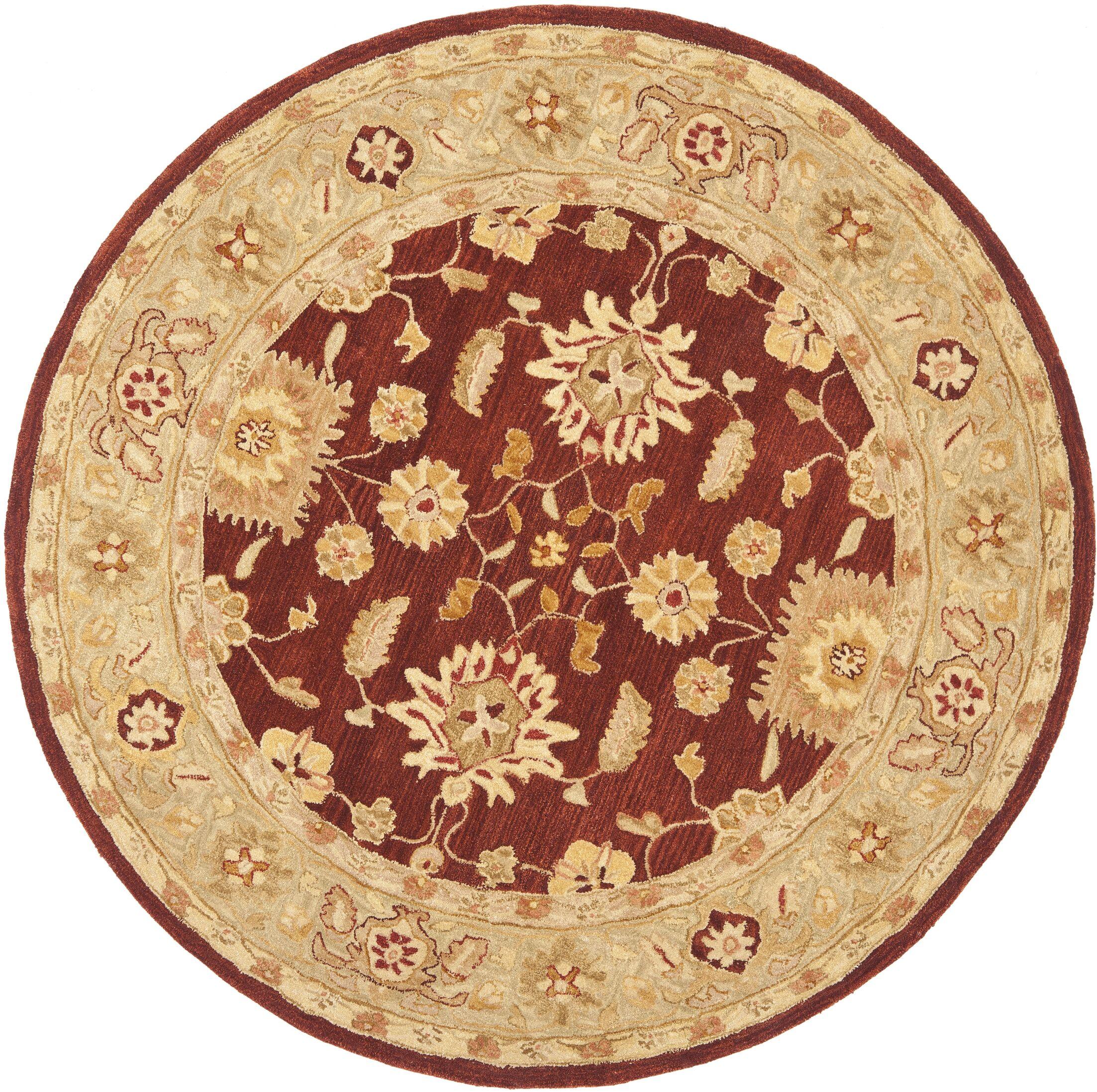Anatolia Red/Sage Area Rug Rug Size: Round 4'