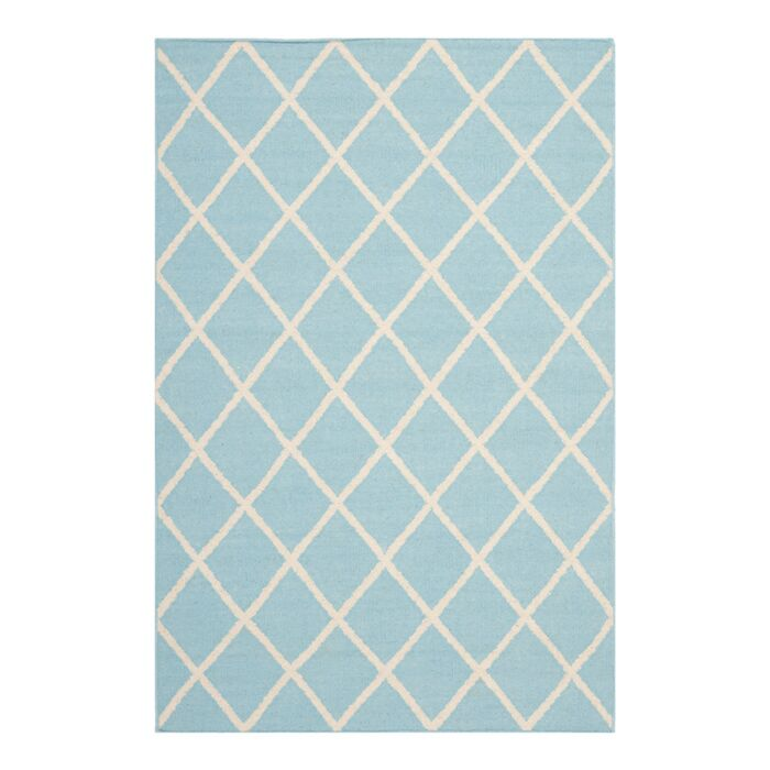 Dhurries Light Blue/Ivory Area Rug Rug Size: Rectangle 6' x 9'