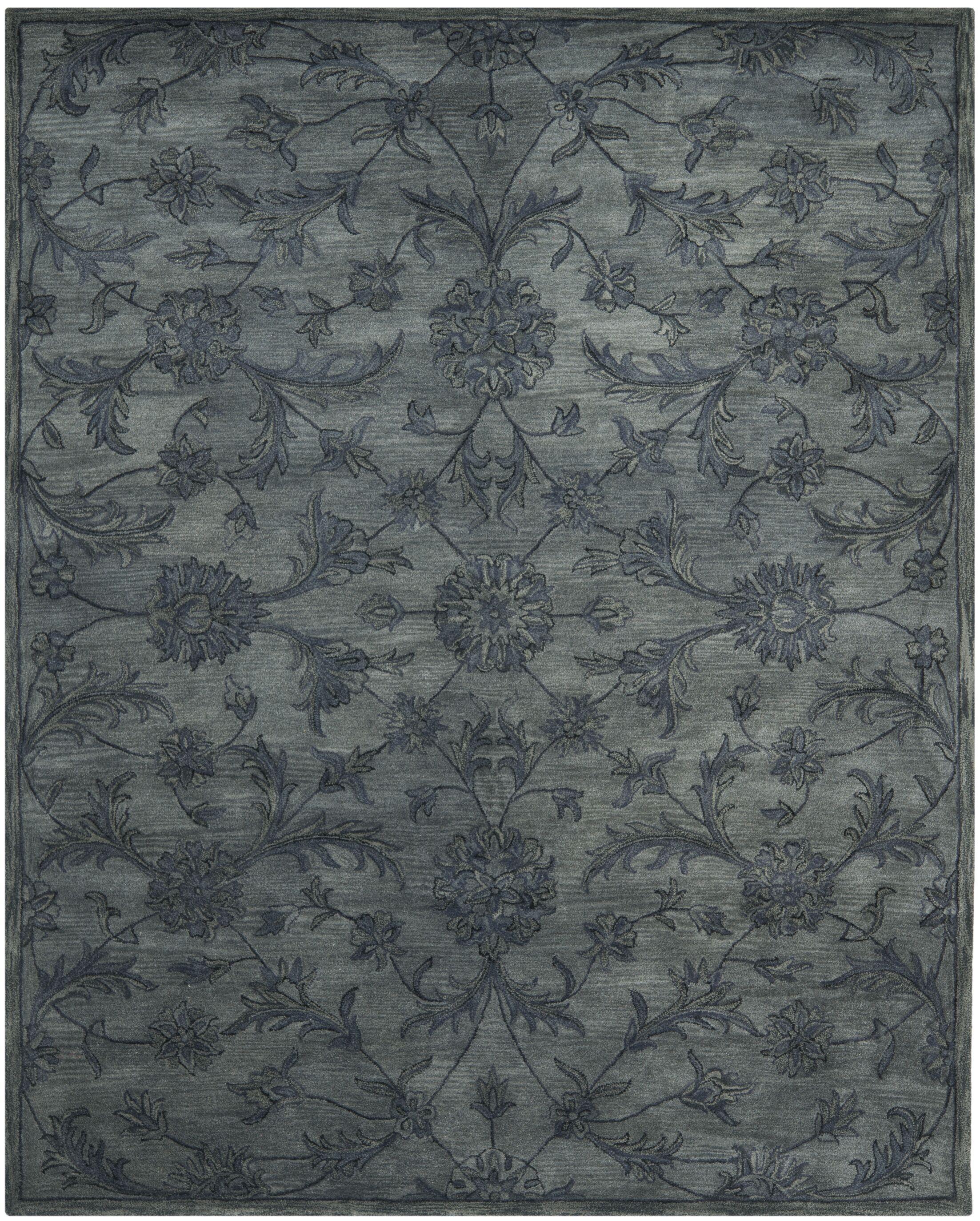 Dunbar Hand-Woven Wool Grey Area Rug Rug Size: Rectangle 9'6