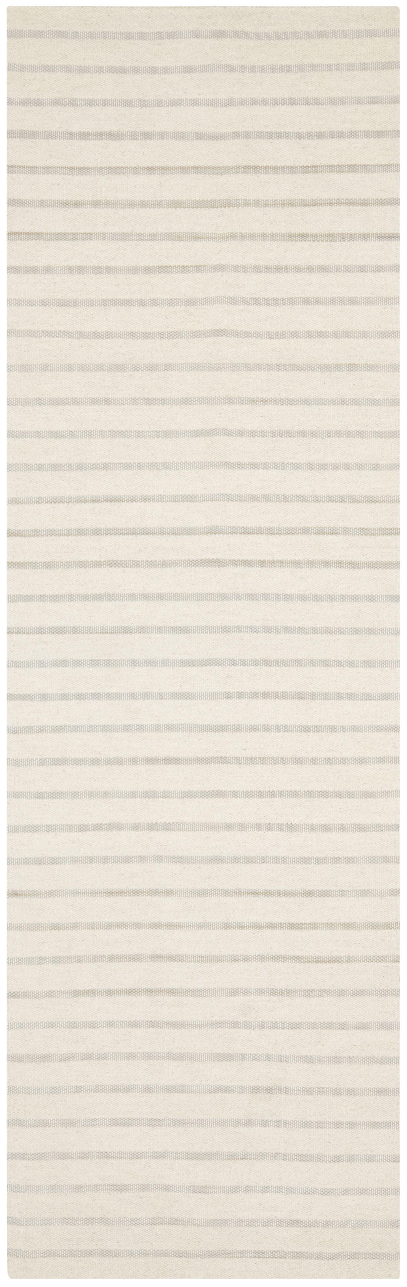 Dhurries Hand-Woven White Area Rug Rug Size: Runner 2'6