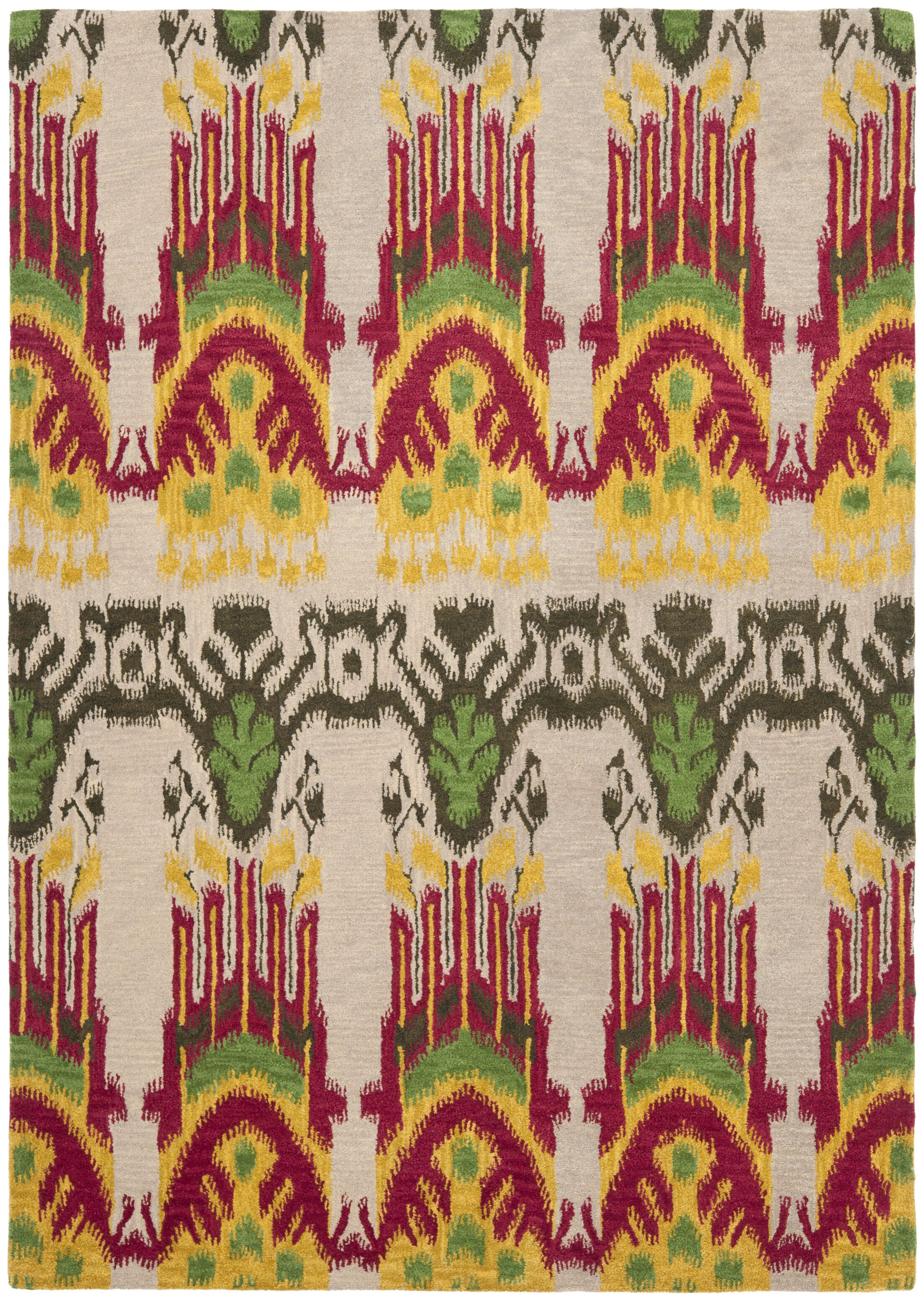 Ikat Beige Area Rug Rug Size: Rectangle 5' x 8'