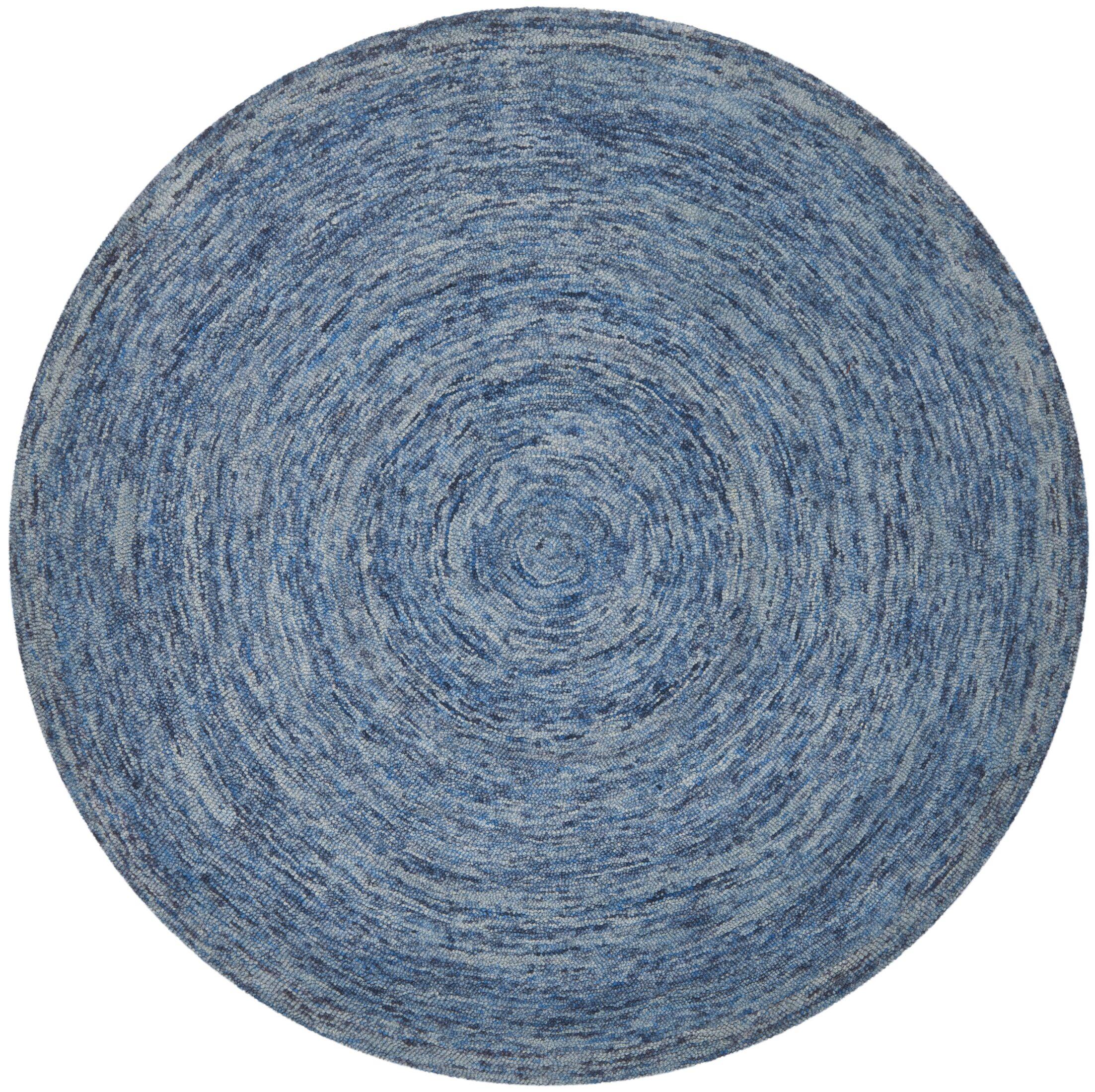 Ikat Dark Blue Area Rug Rug Size: Round 6'