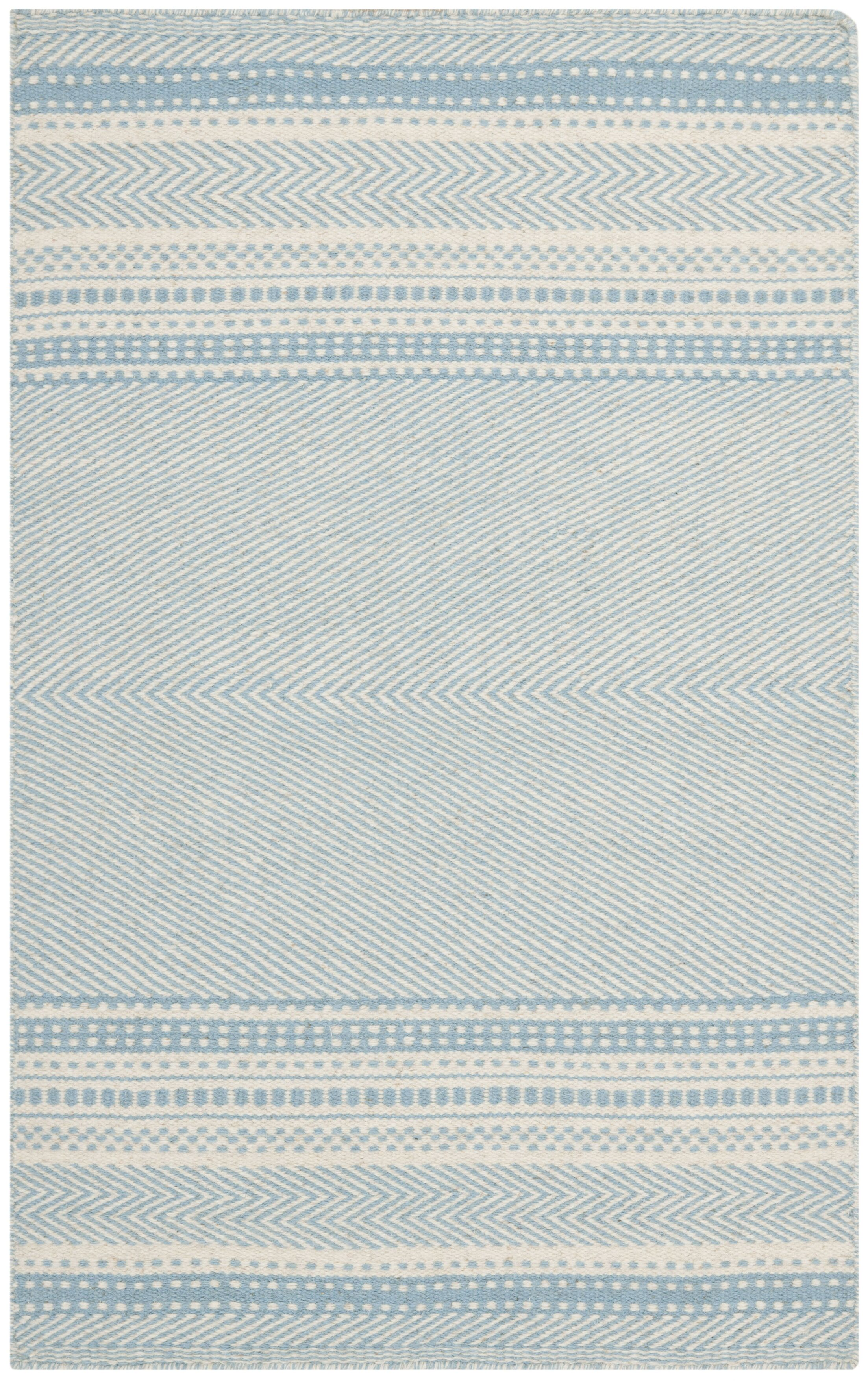 Kilim Hand-Woven Wool Light Blue/Ivory Area Rug Rug Size: Rectangle 8' x 10'