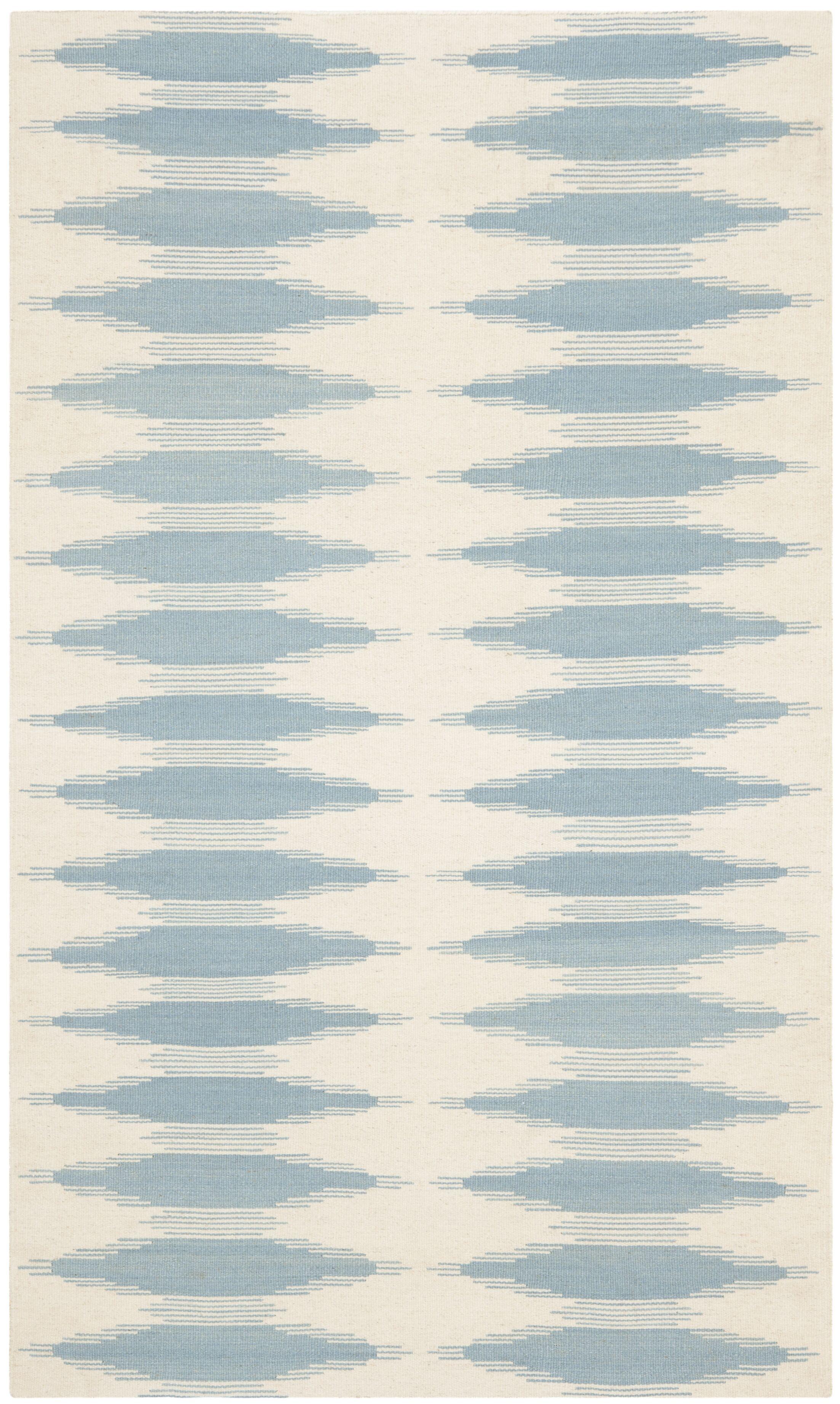 Brook Lane Ivory & Blue Area Rug Rug Size: Rectangle 4' x 6'