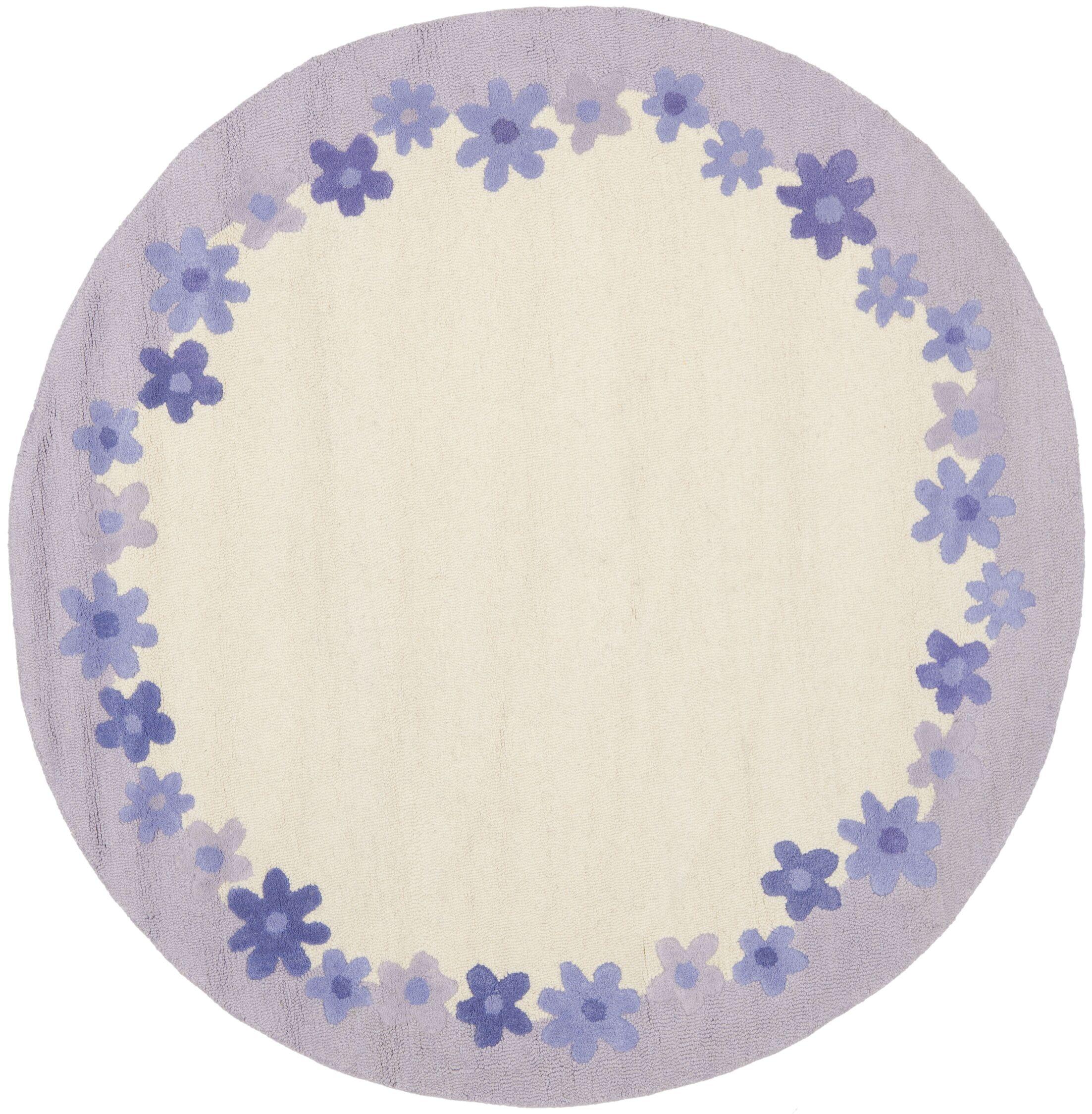 Claro Ivory / Lavender Kids Rug Rug Size: Round 6'