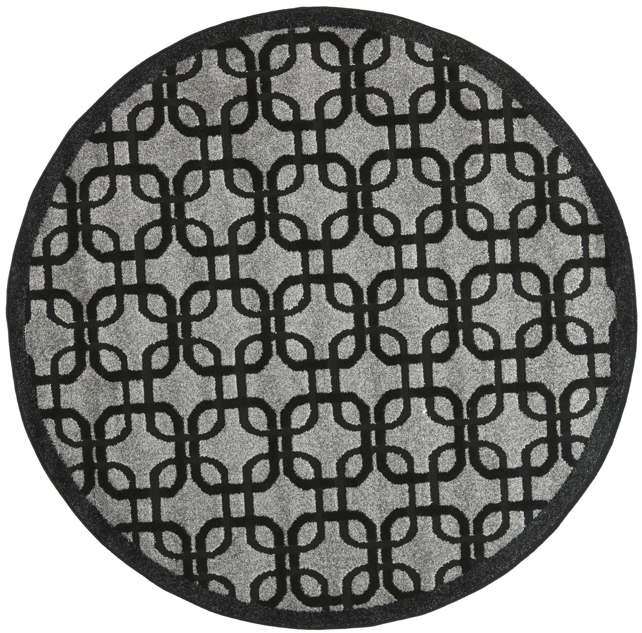 York Gray/ Black Area Rug Rug Size: Round 6'7