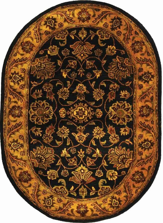 Golden Jaipur Black/Gold Area Rug Rug Size: Oval 4'6
