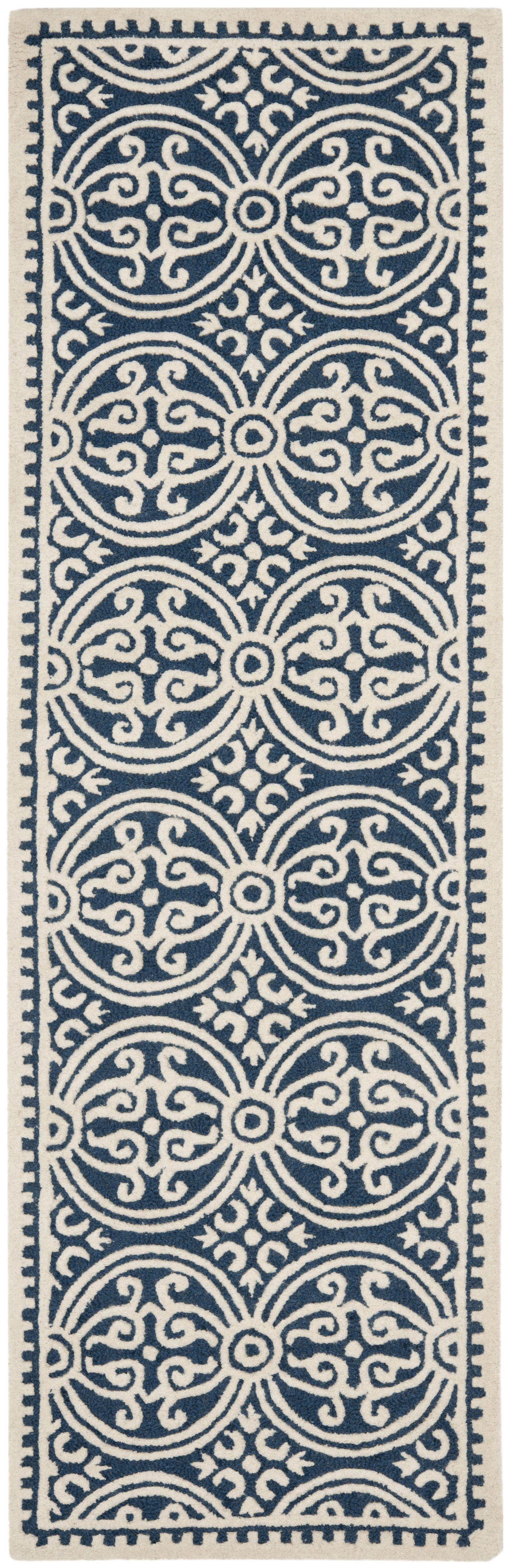 Fairburn Hand-Tufted Wool Navy Area Rug Rug Size: Runner 2'6