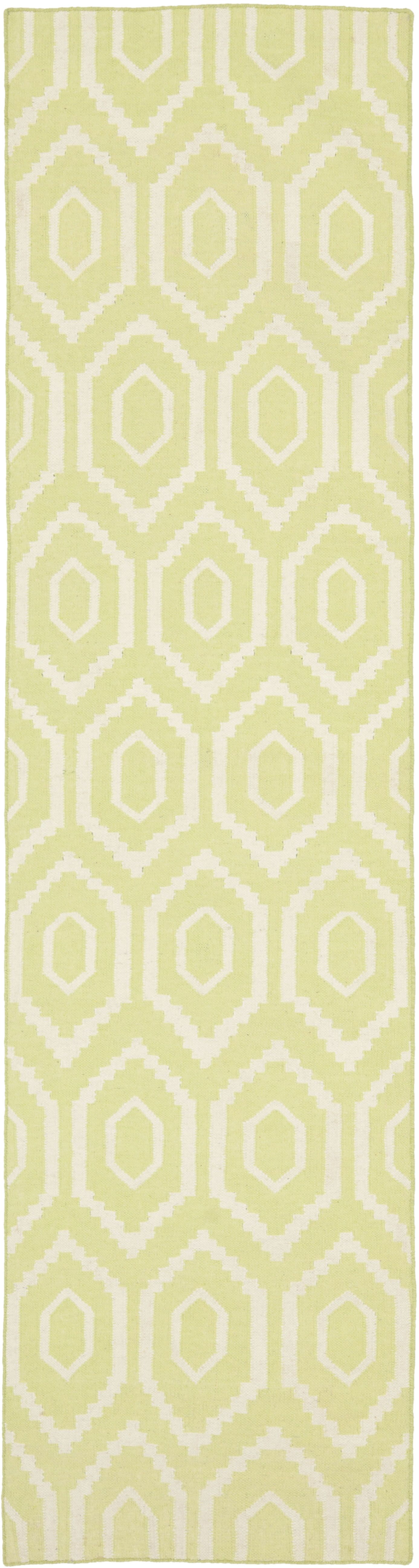 Hand-Woven Wool Green/Ivory Area Rug Rug Size: Runner 2'6
