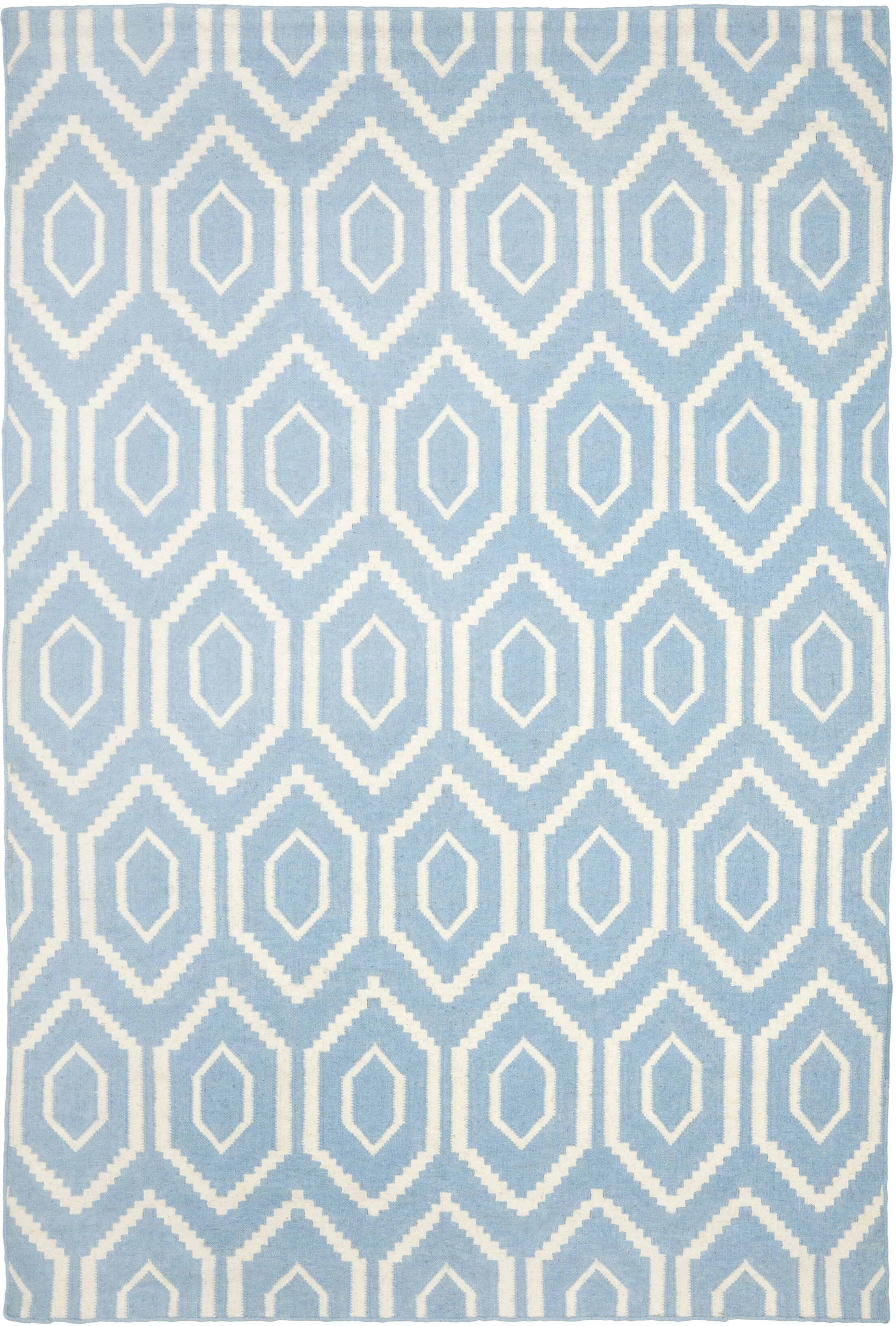 Gem Jam Hand-Woven Wool Blue/Ivory Area Rug Rug Size: Rectangle 10' x 14'