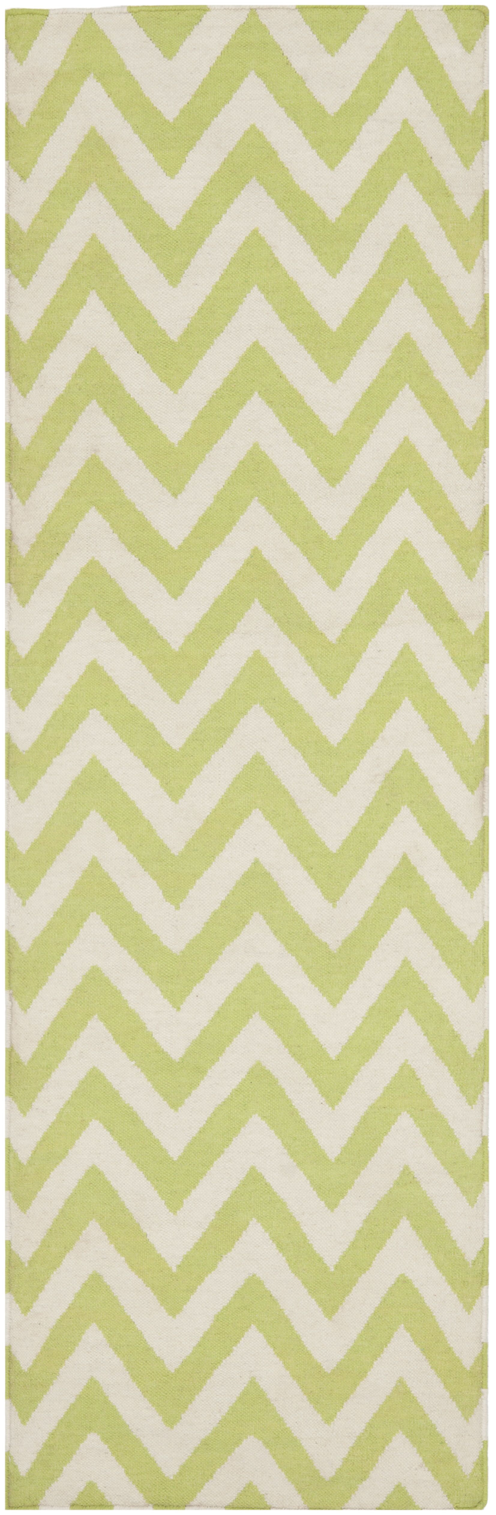 Moves Like Zigzagger Hand-Woven Wool Green/Ivory Area Rug Rug Size: Runner 2'6