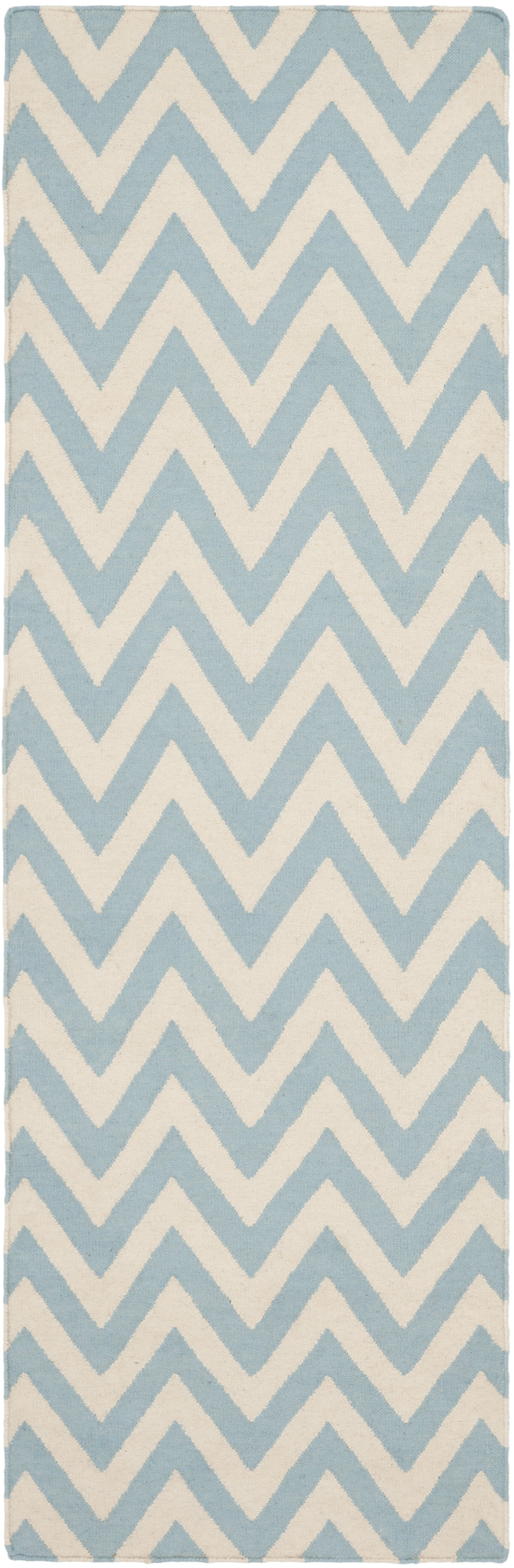 Dhurries Hand-Woven Wool Blue/Ivory Area Rug Rug Size: Runner 2'6