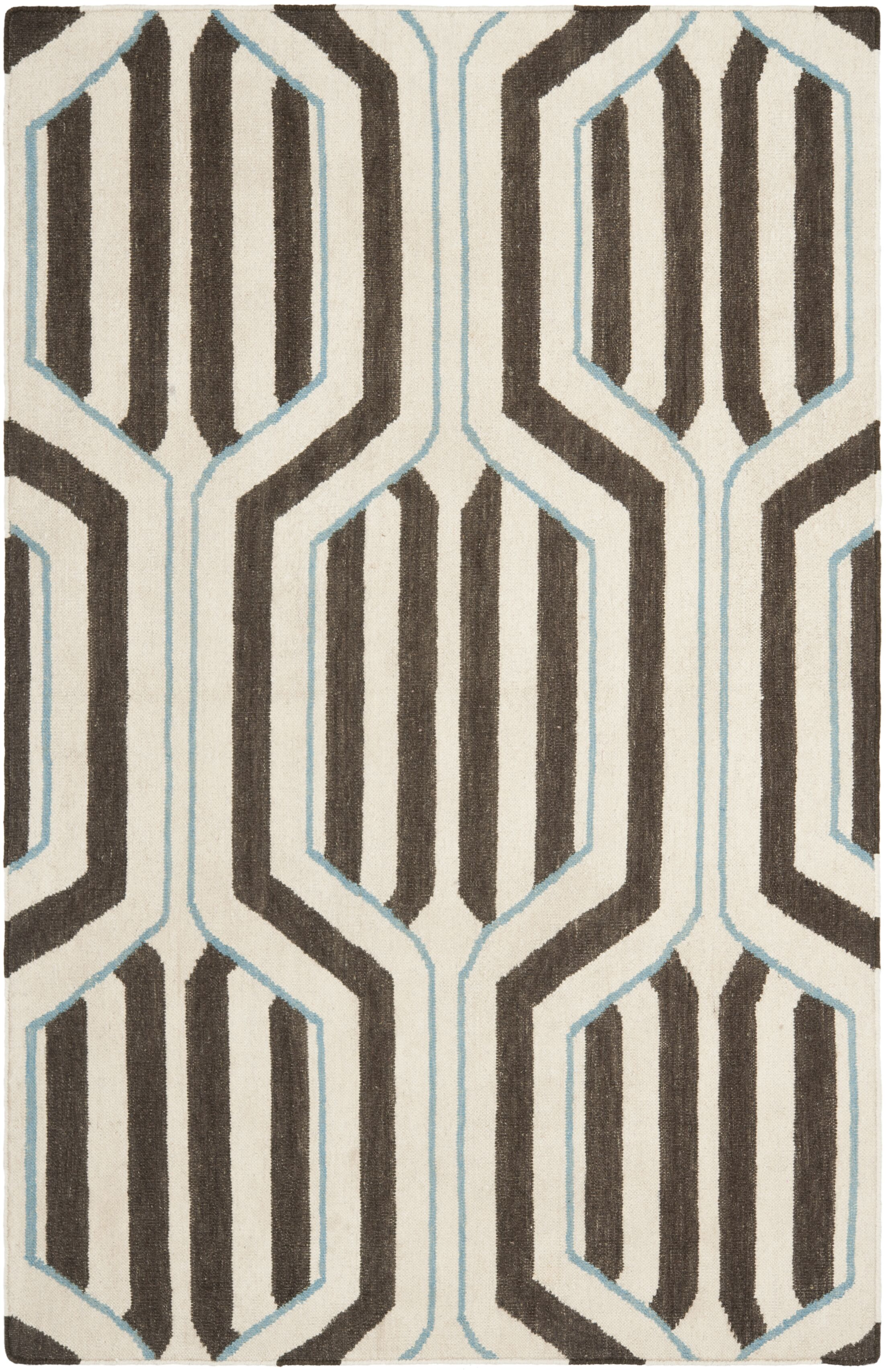 Dhurries Ivory/Brown Area Rug Rug Size: Rectangle 4' x 6'