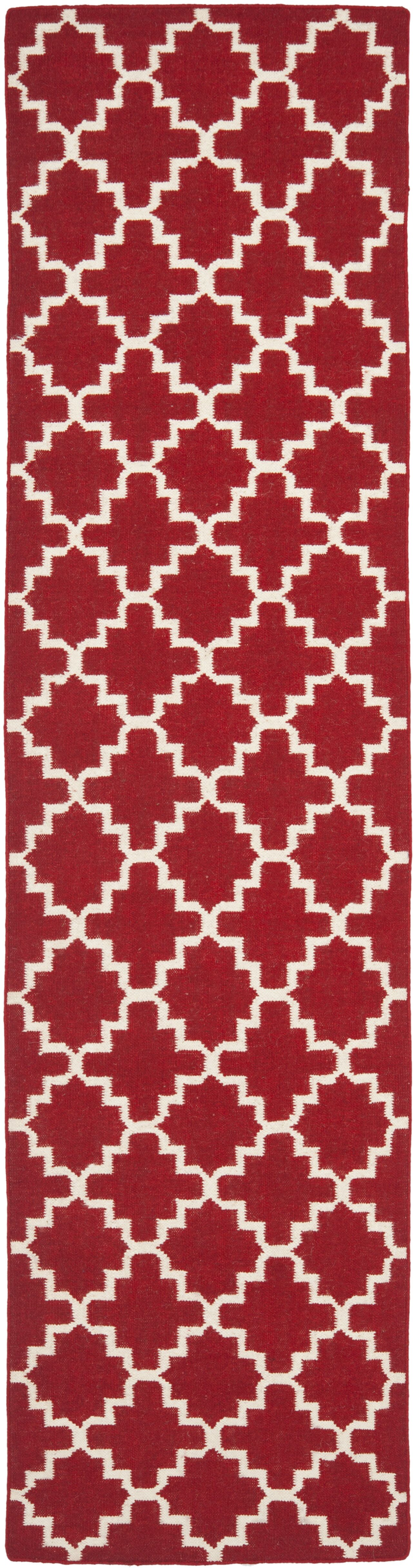 Dhurries Red/Ivory Area Rug Rug Size: Rectangle 9' x 12'