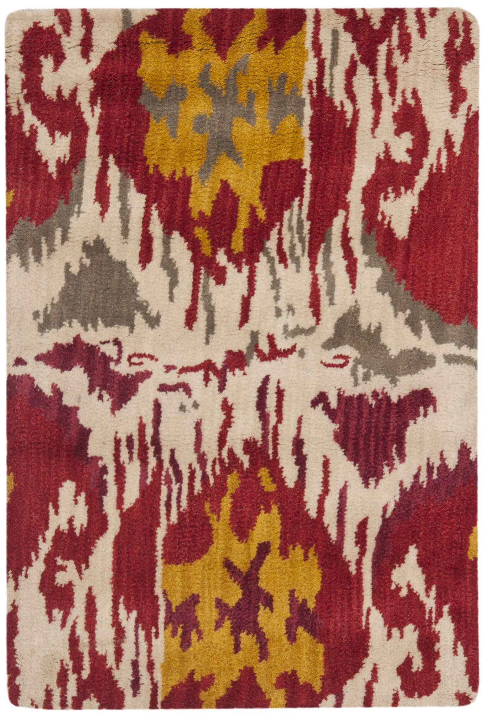 Ikat Ivory/Red Area Rug Rug Size: Rectangle 5' x 8'