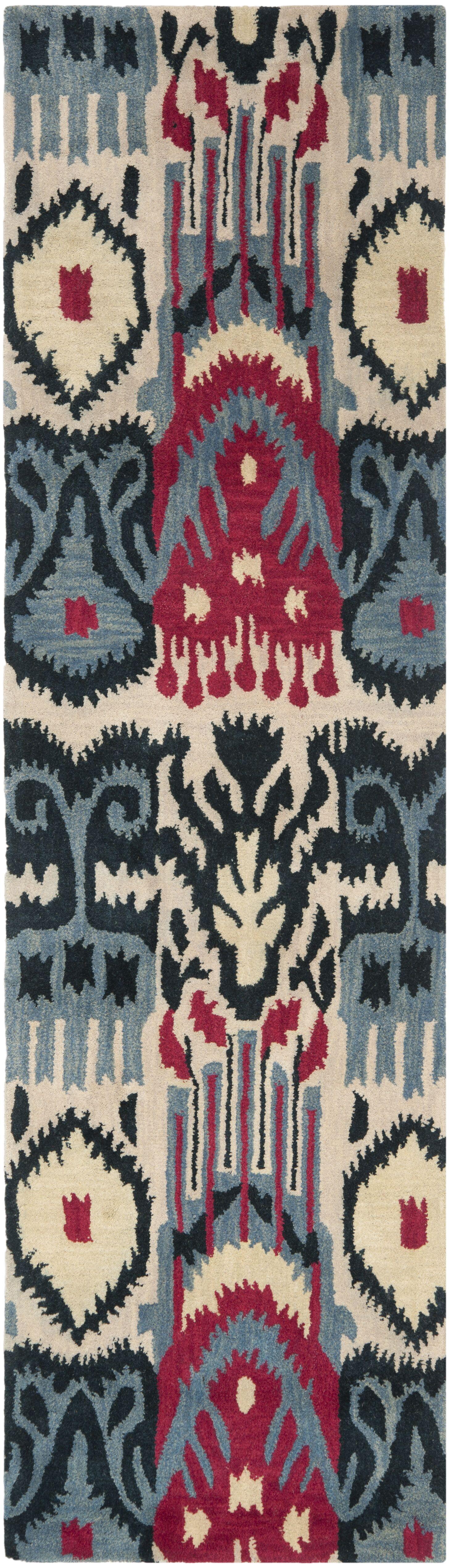 Ikat Beige & Blue Area Rug Rug Size: Rectangle 8' x 10'