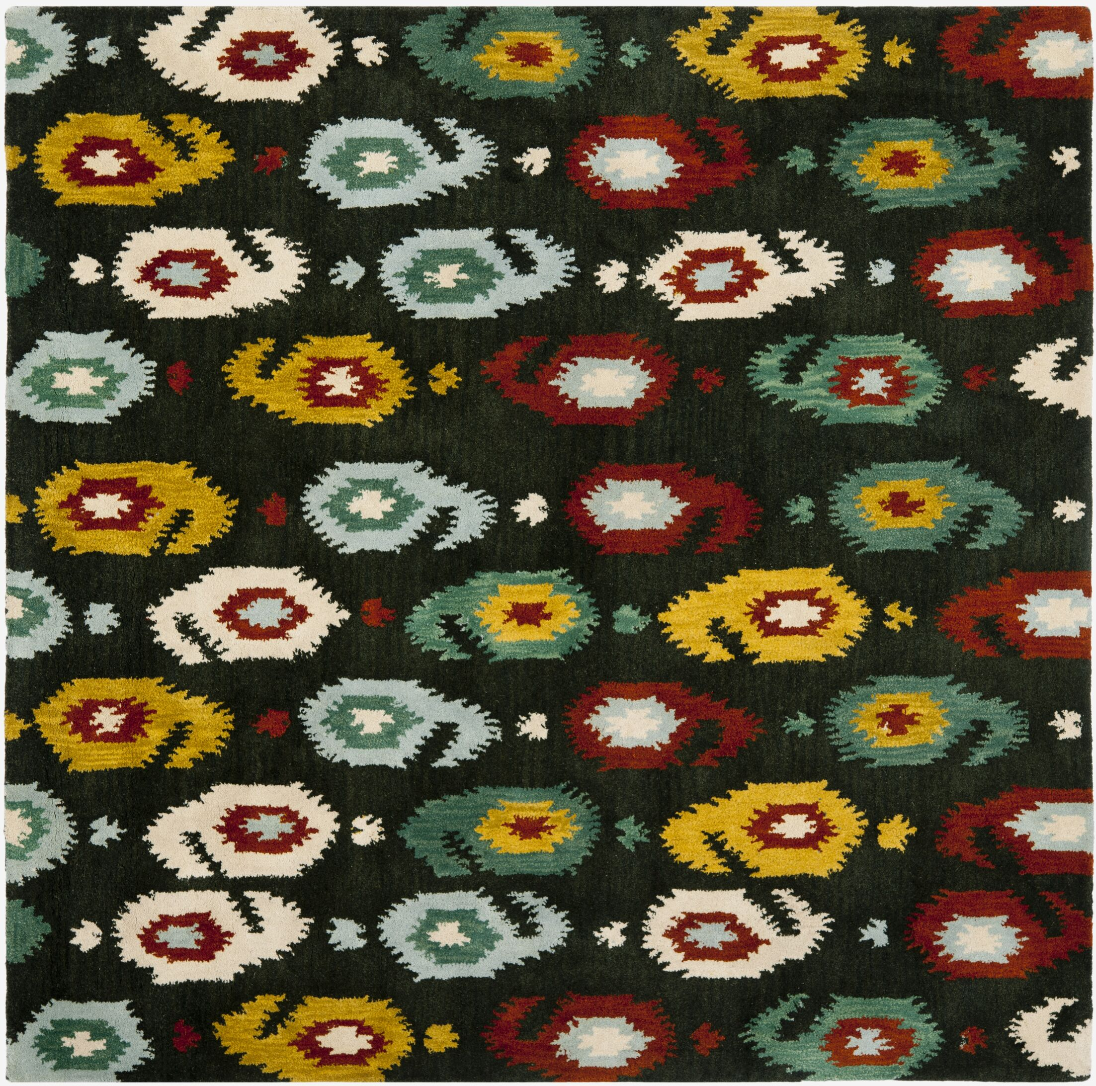 Ikat Charcoal Area Rug Rug Size: Square 6'