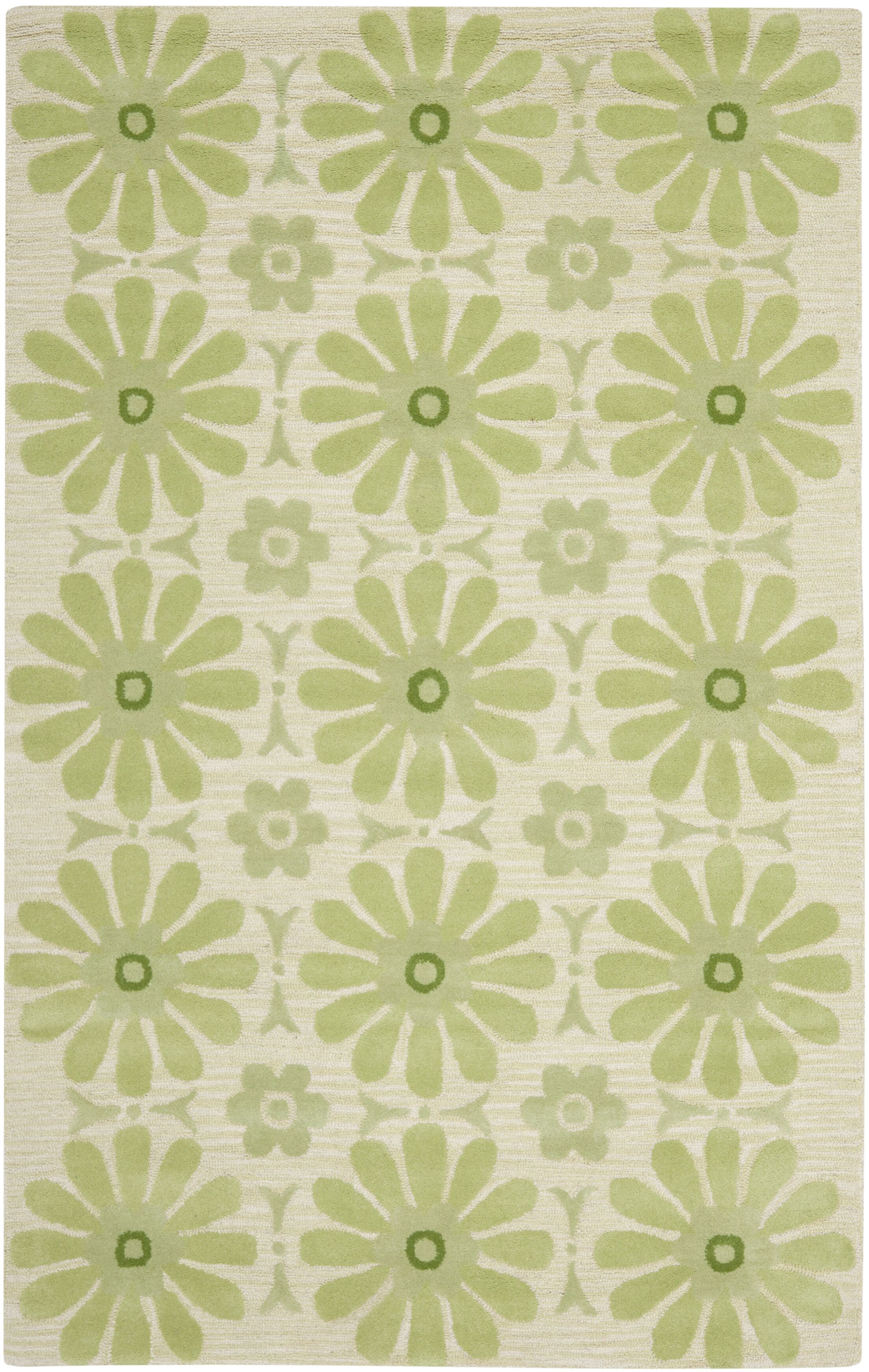 Claro Beige/Green Area Rug Rug Size: Rectangle 5' x 8'