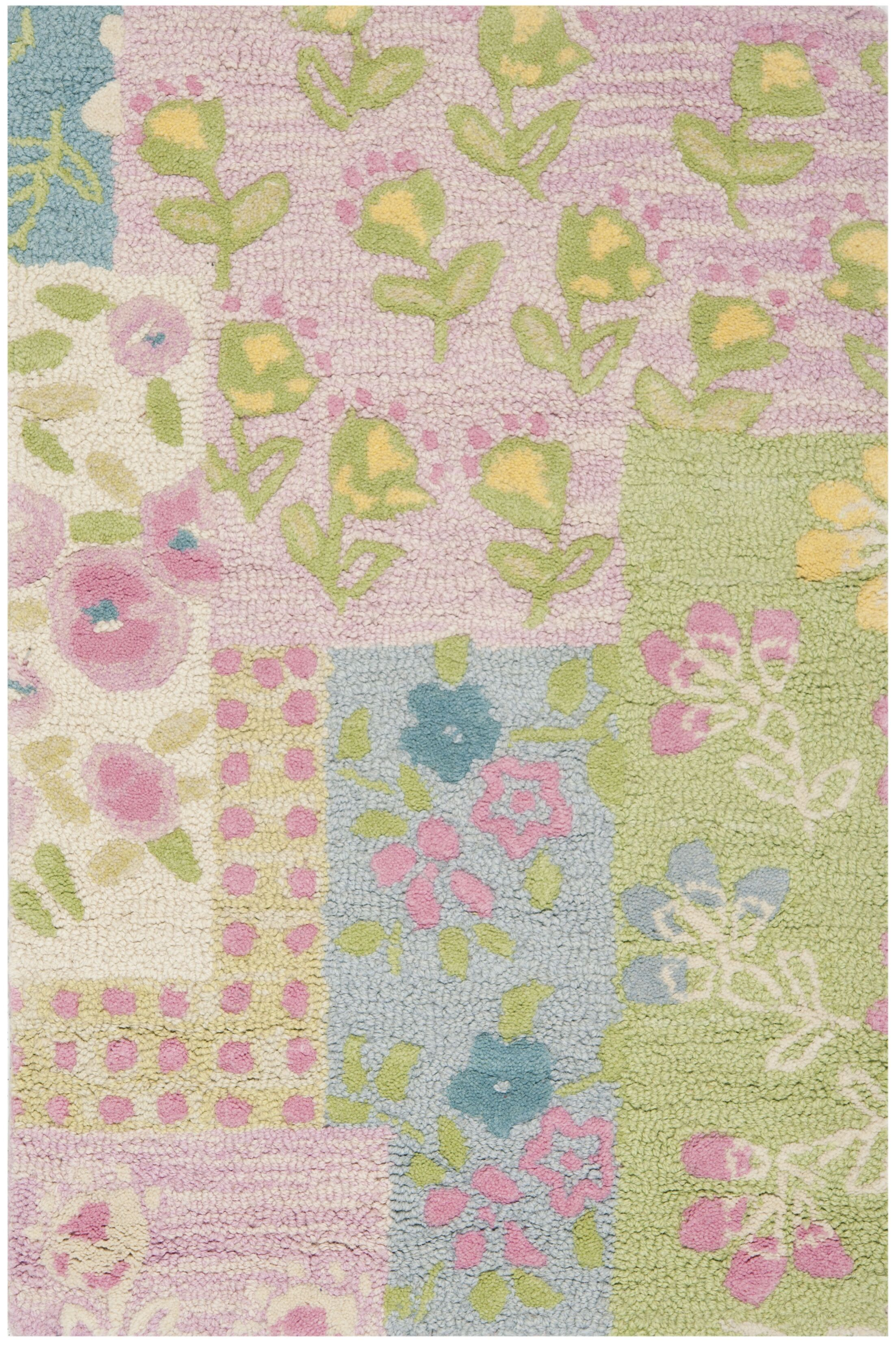 Kids Hand-Tufted Pink/Green Area Rug Rug Size: Rectangle 3' x 5'