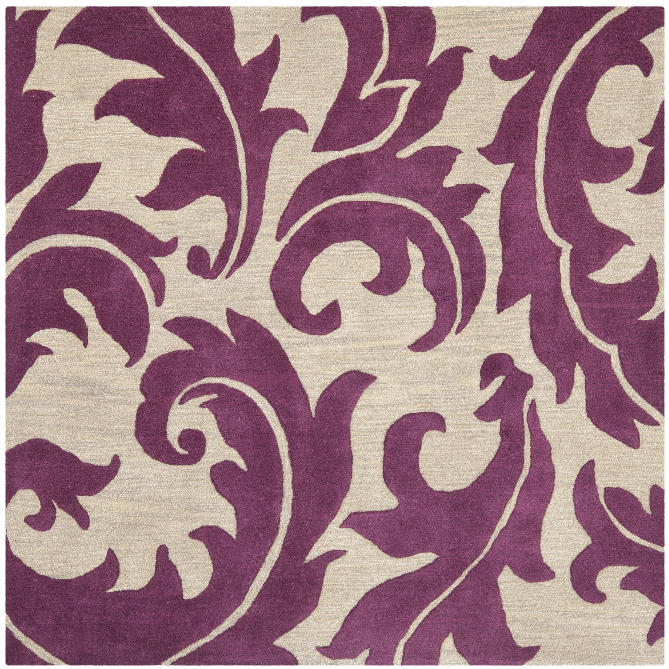 Maxen Purple/Beige Area Rug Rug Size: Square 6'