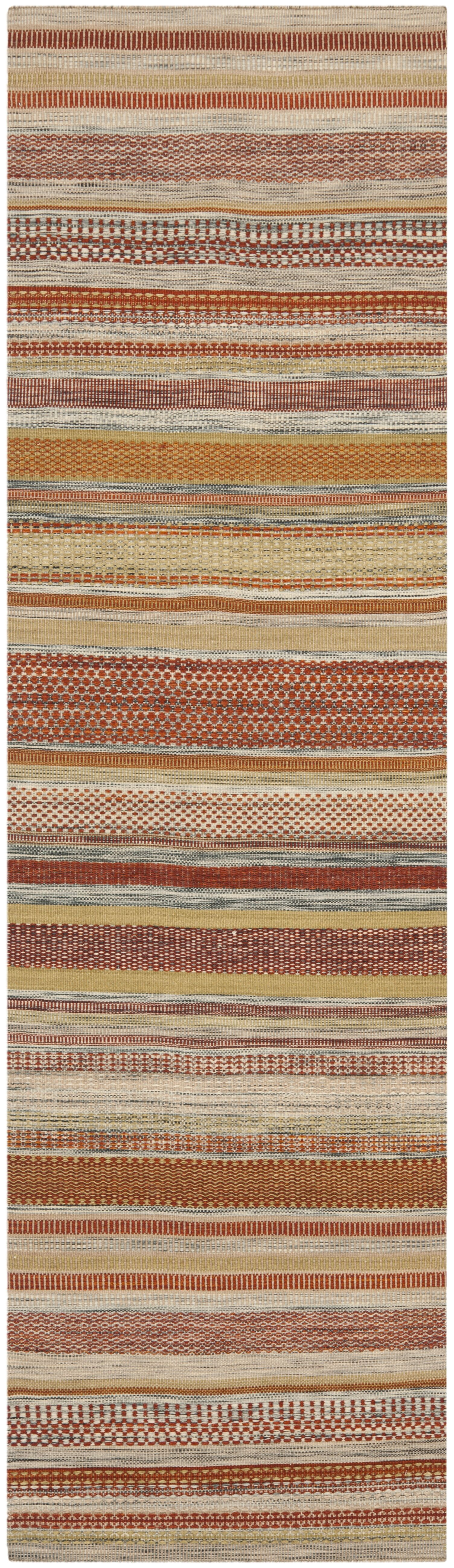 Striped Kilim Handwoven Flatweave Wool Brown/Beige Area Rug Rug Size: Rectangle 10' x 14'