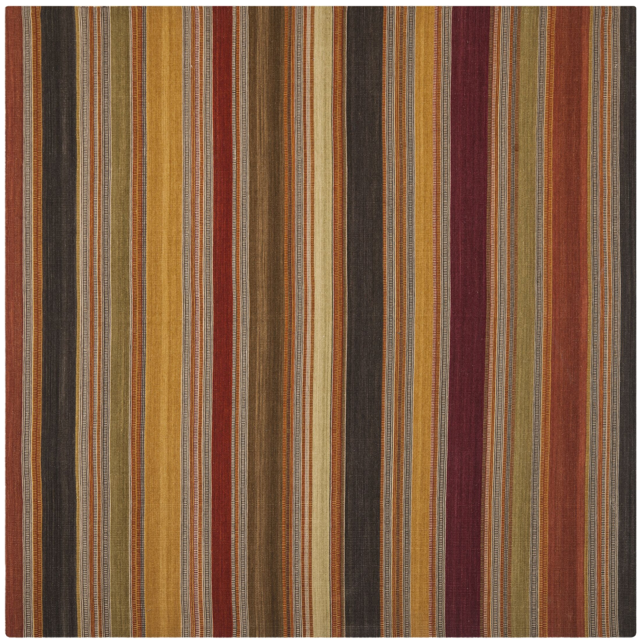Striped Kilim Gold Rug Rug Size: Square 7'