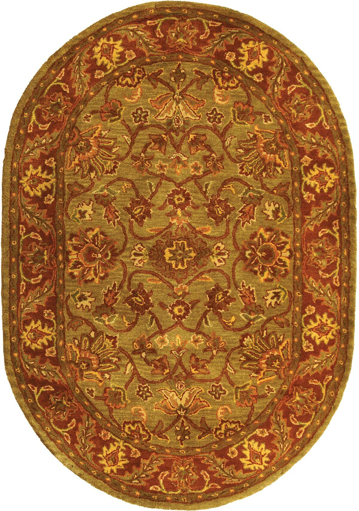 Jaipur Hand-Tufted Wool Green/Rust Area Rug Rug Size: Oval 4'6
