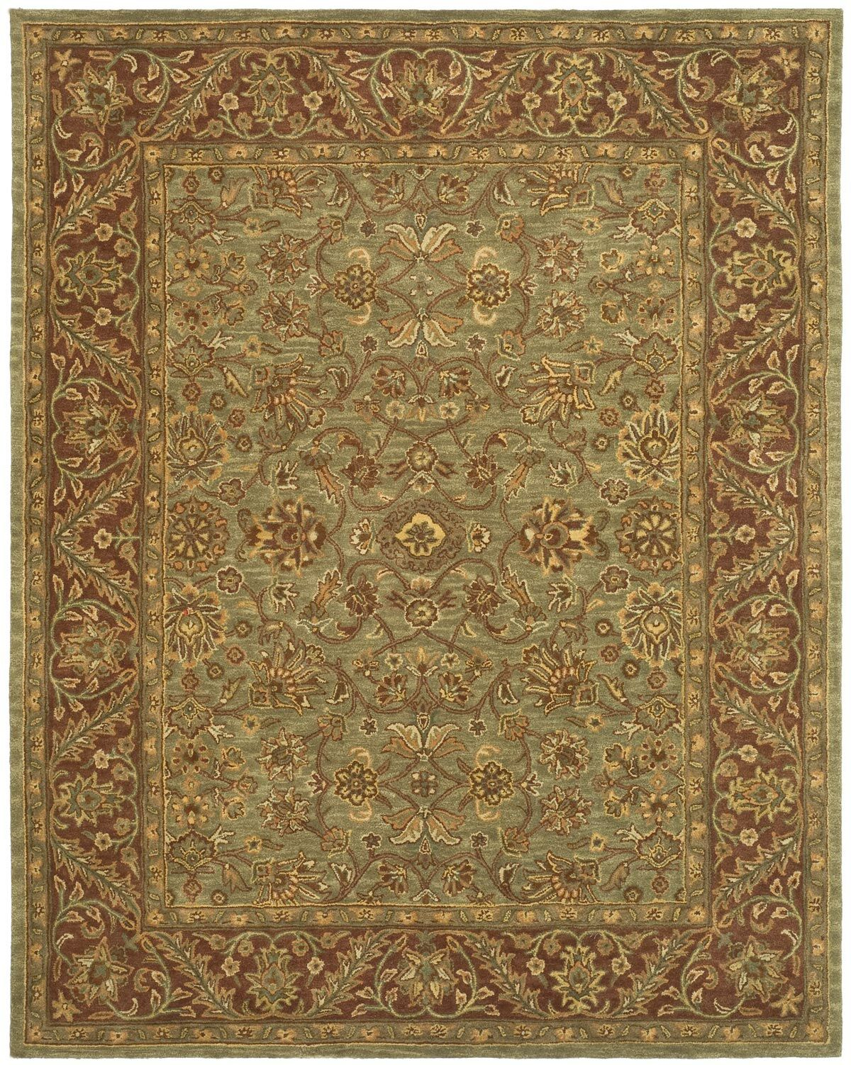 Jaipur Hand-Tufted Wool Green/Rust Area Rug Rug Size: Rectangle 11' x 15'
