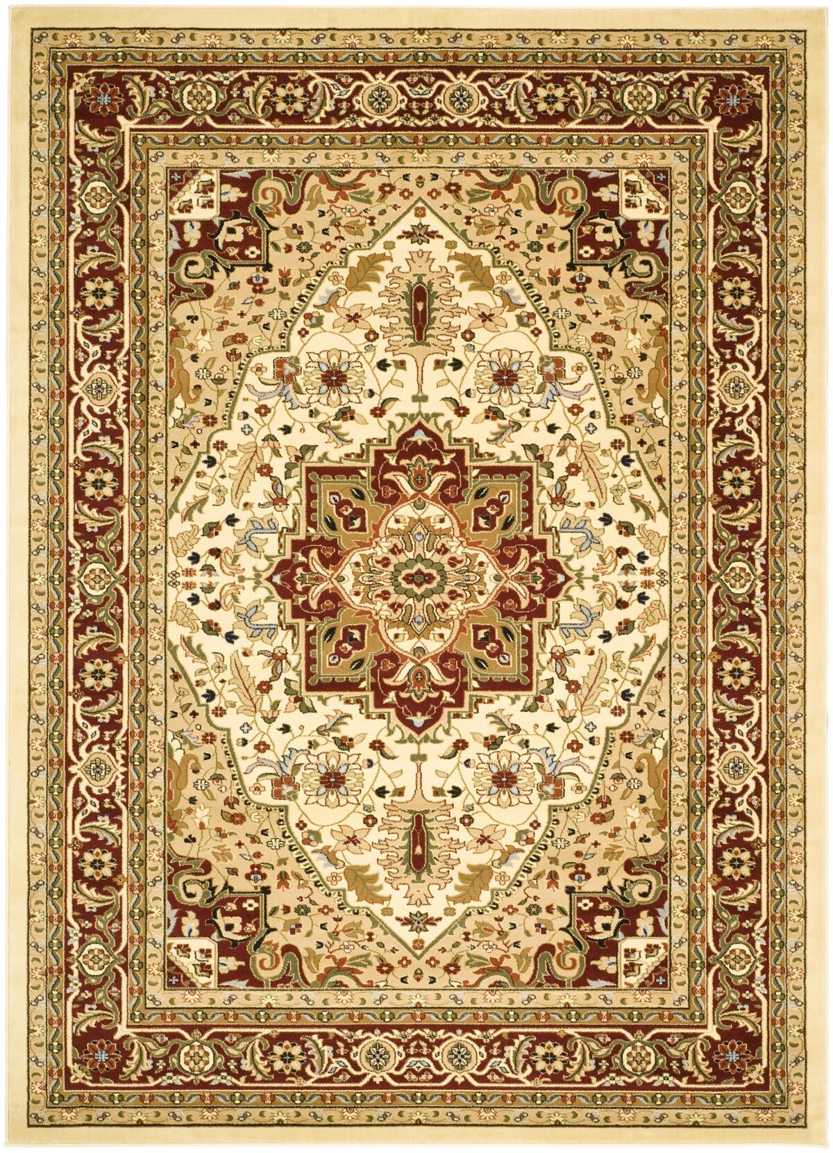Theresa Ivory/Red Area Rug Rug Size: Rectangle 8' x 11'