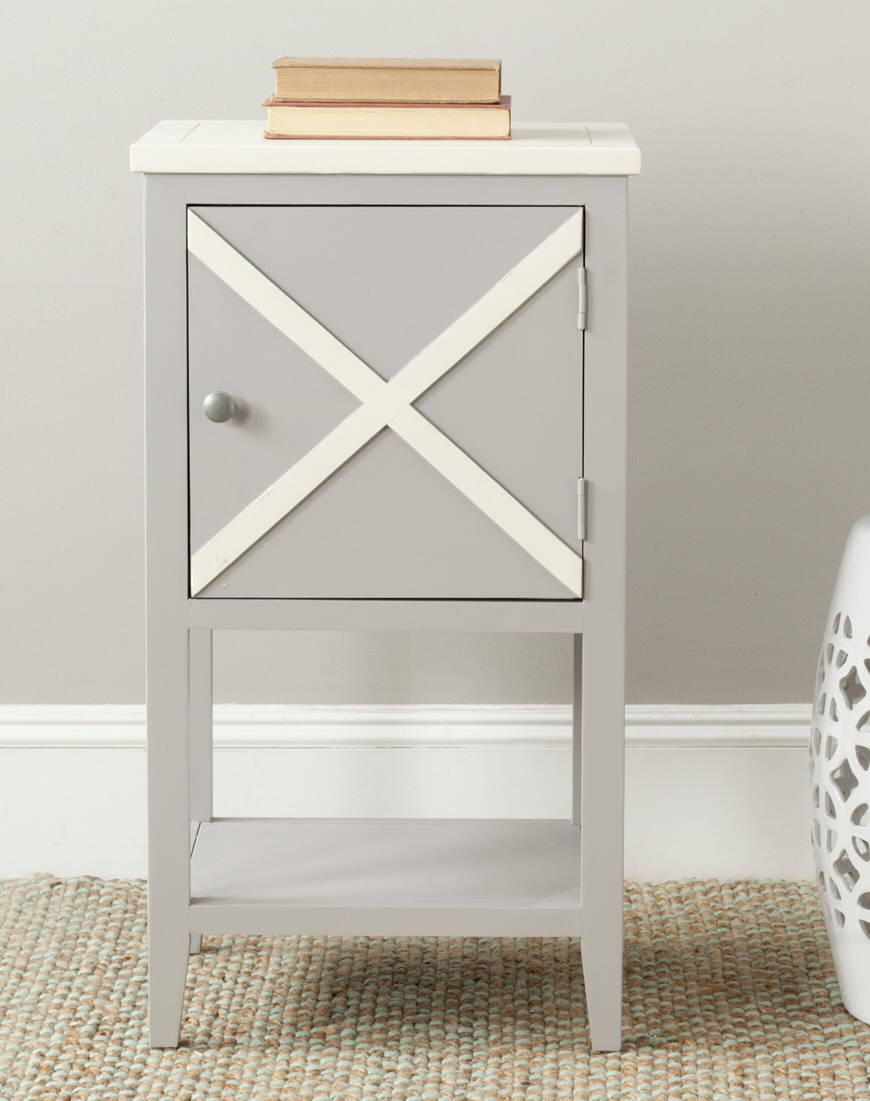 Ward End Table Color: Grey / Cream