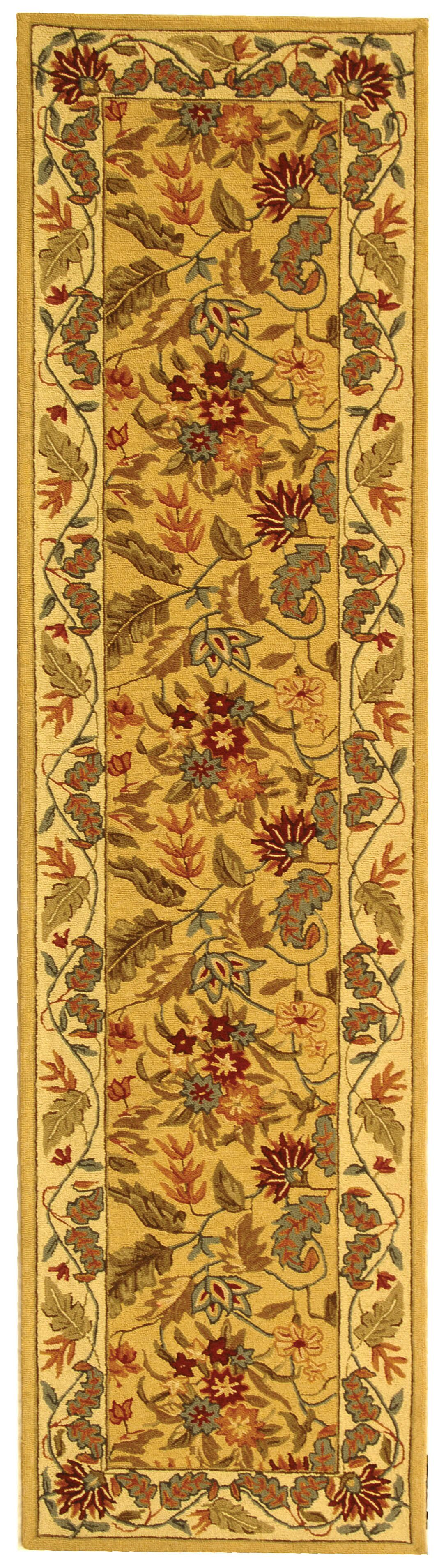 Helena Missy Floral Hand Hooked Wool Ivory/Red Area Rug Rug Size: Runner 2'6