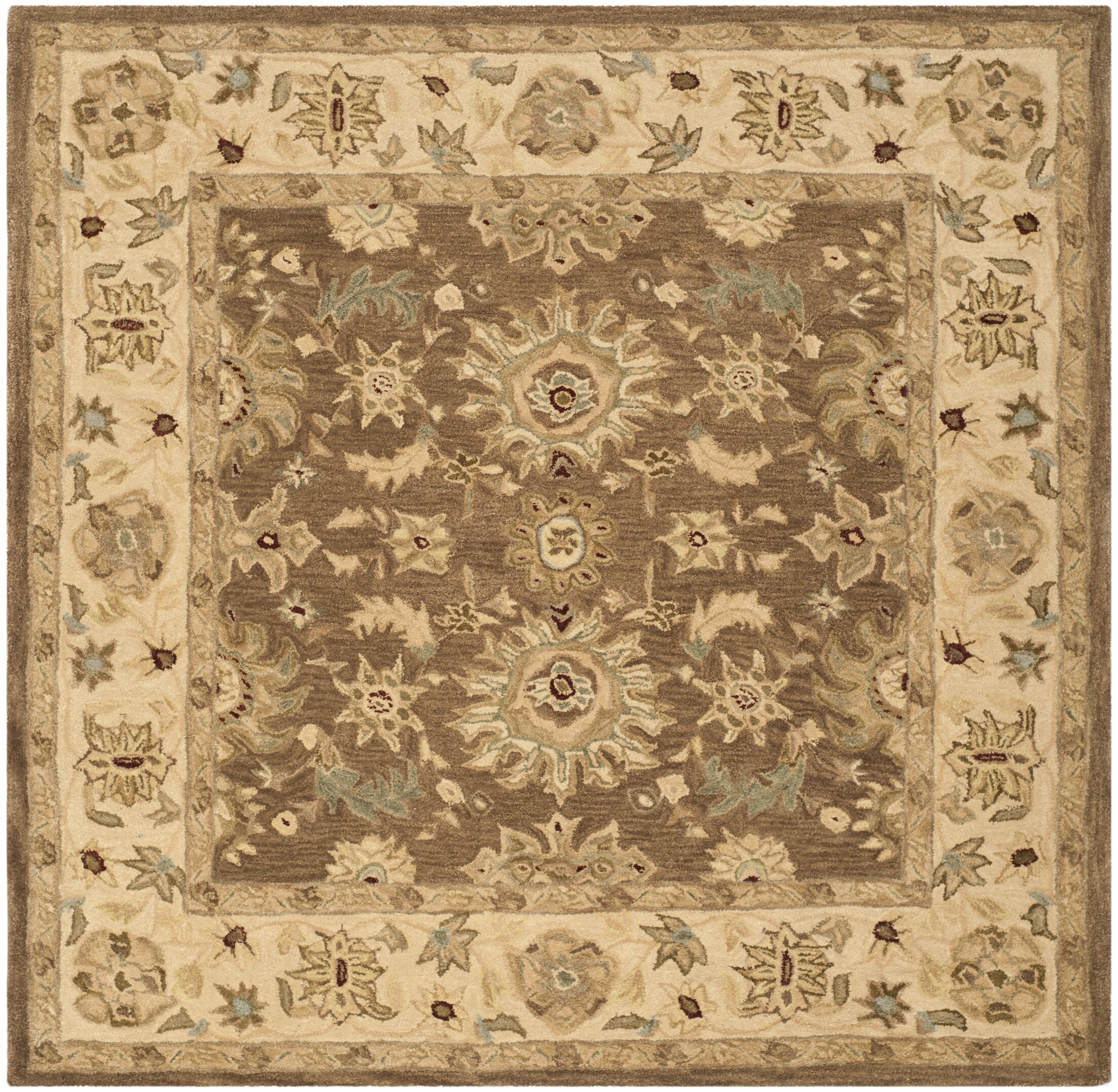 Anatolia Brown/Beige Area Rug Rug Size: Square 6'