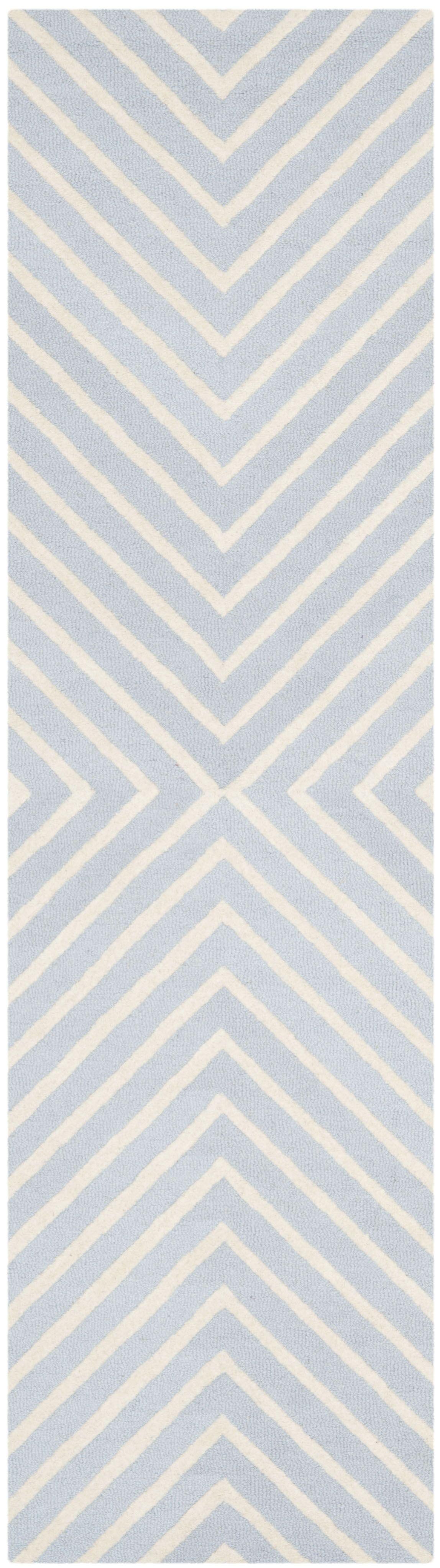 Weybridge Hand Woven Wool Light Blue/Ivory Area Rug Rug Size: Runner 2'6
