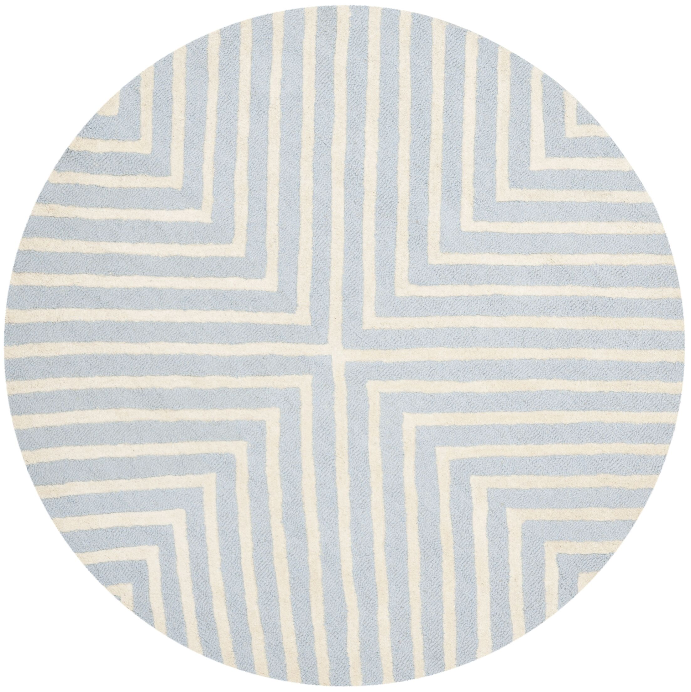 Weybridge Hand Woven Wool Light Blue/Ivory Area Rug Rug Size: Round 4'