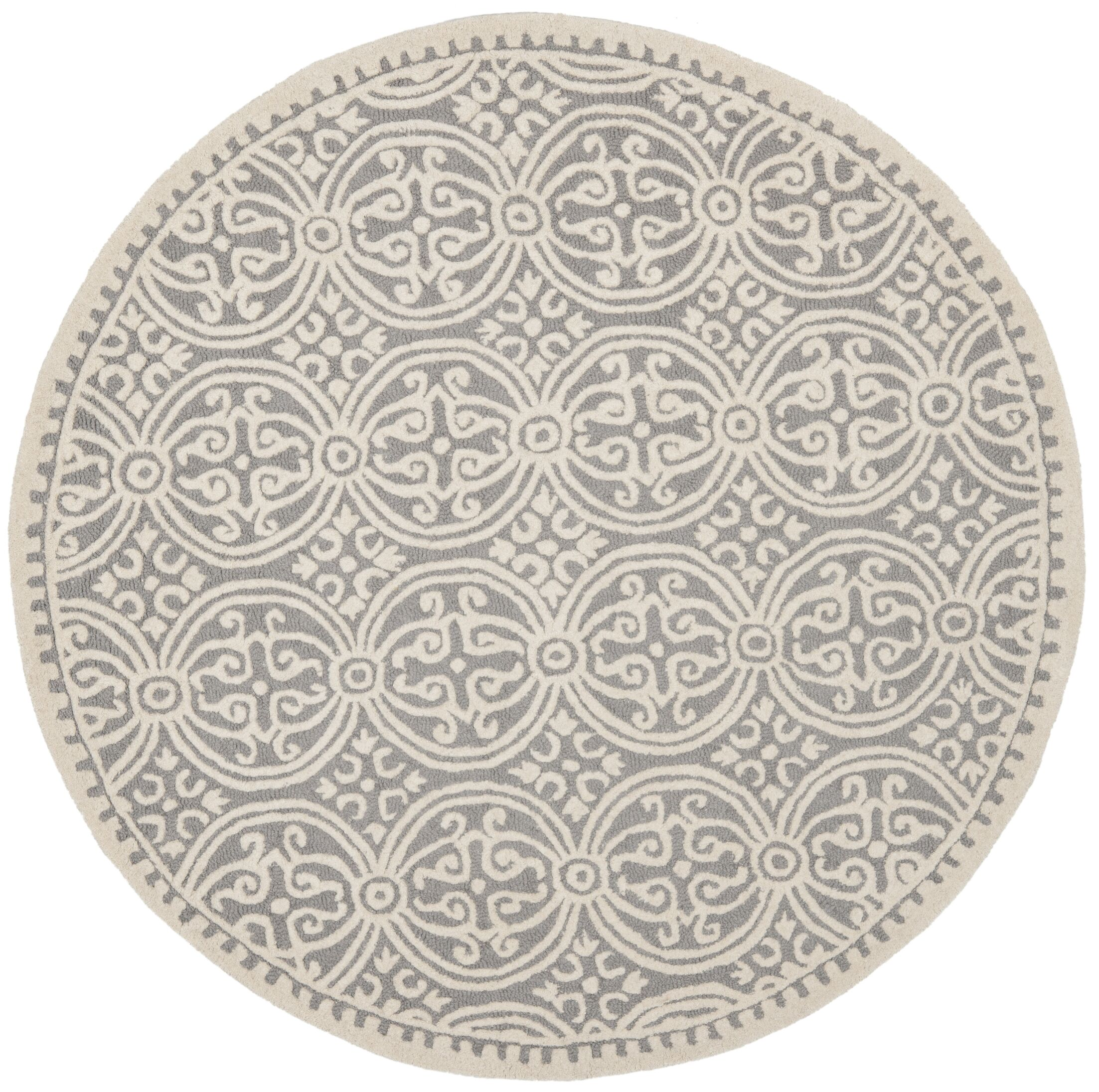 Landen Hand-Tufted Silver/Ivory Area Rug Rug Size: Round 8'