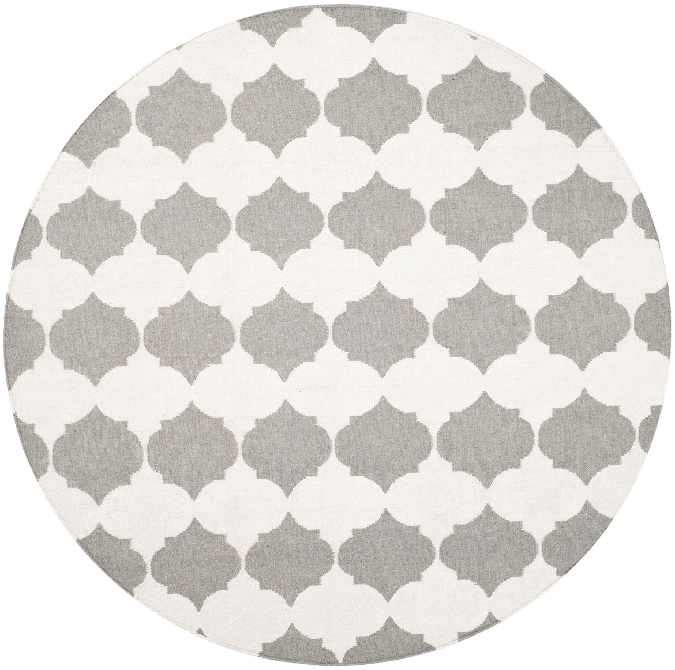 Dhurries Grey & Ivory Area Rug Rug Size: Round 7'