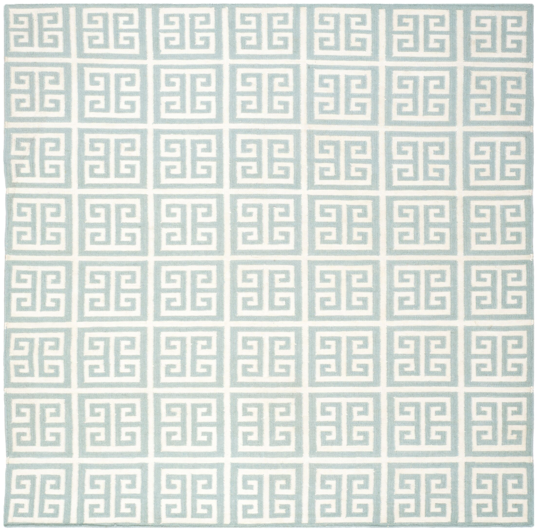Dhurries Hand-Woven Wool Blue/Ivory Area Rug Rug Size: Square 7'