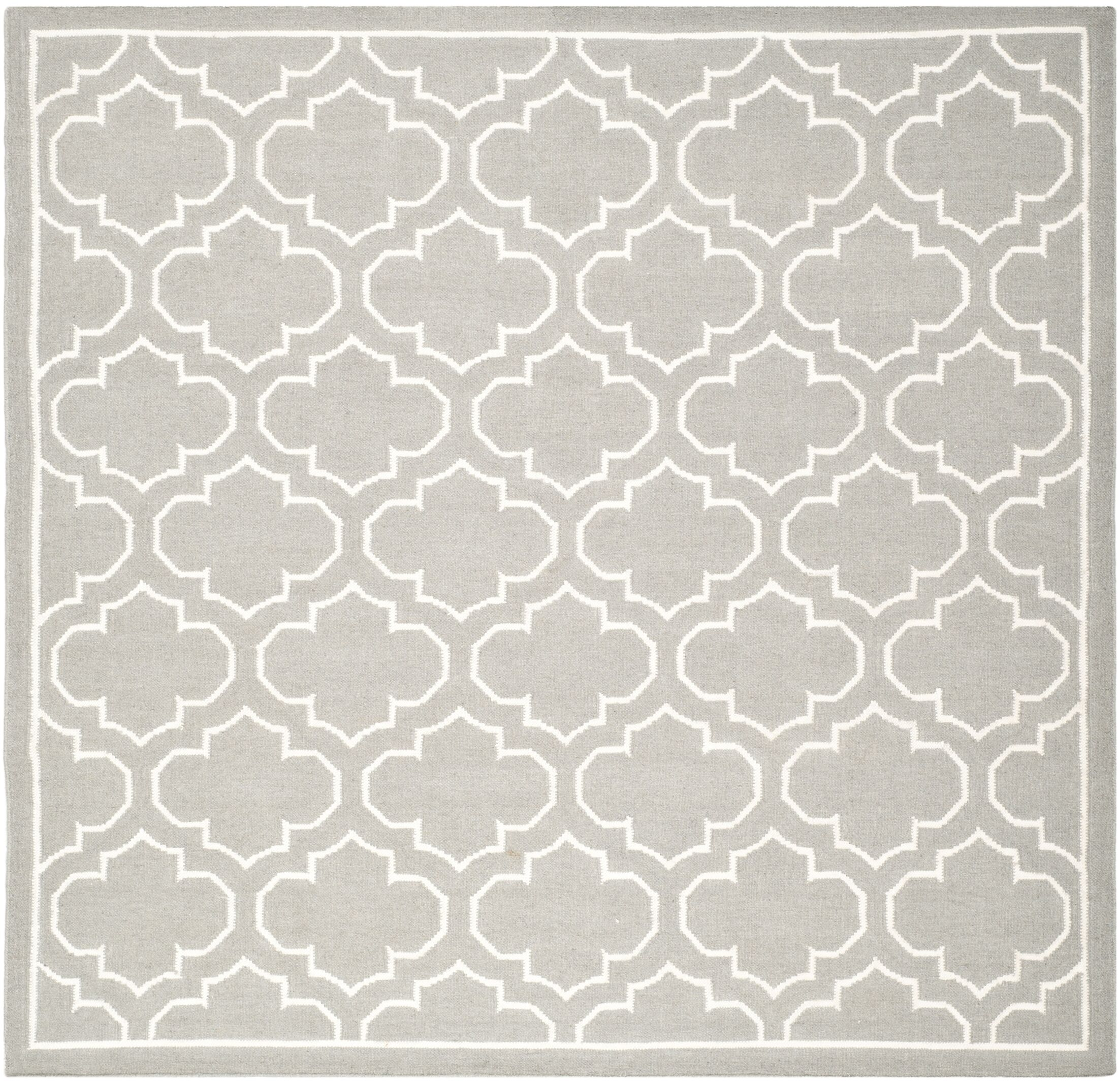 Dhurries Hand-Woven Wool Gray/Ivory Area Rug Rug Size: Square 7'