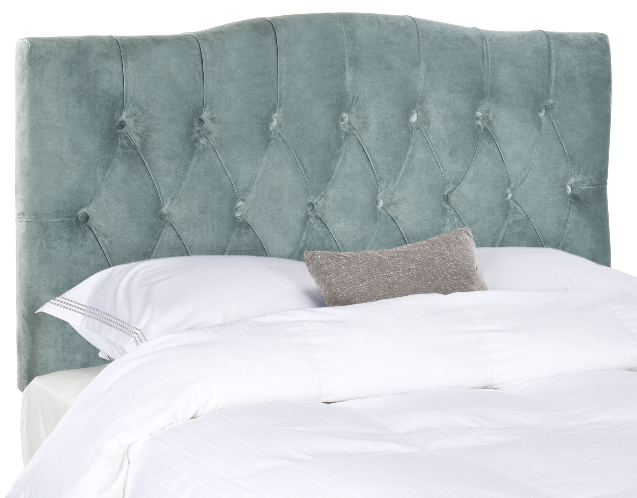 Ellecourt Upholstered Panel Headboard Size: Twin, Upholstery: Linen Light Gray
