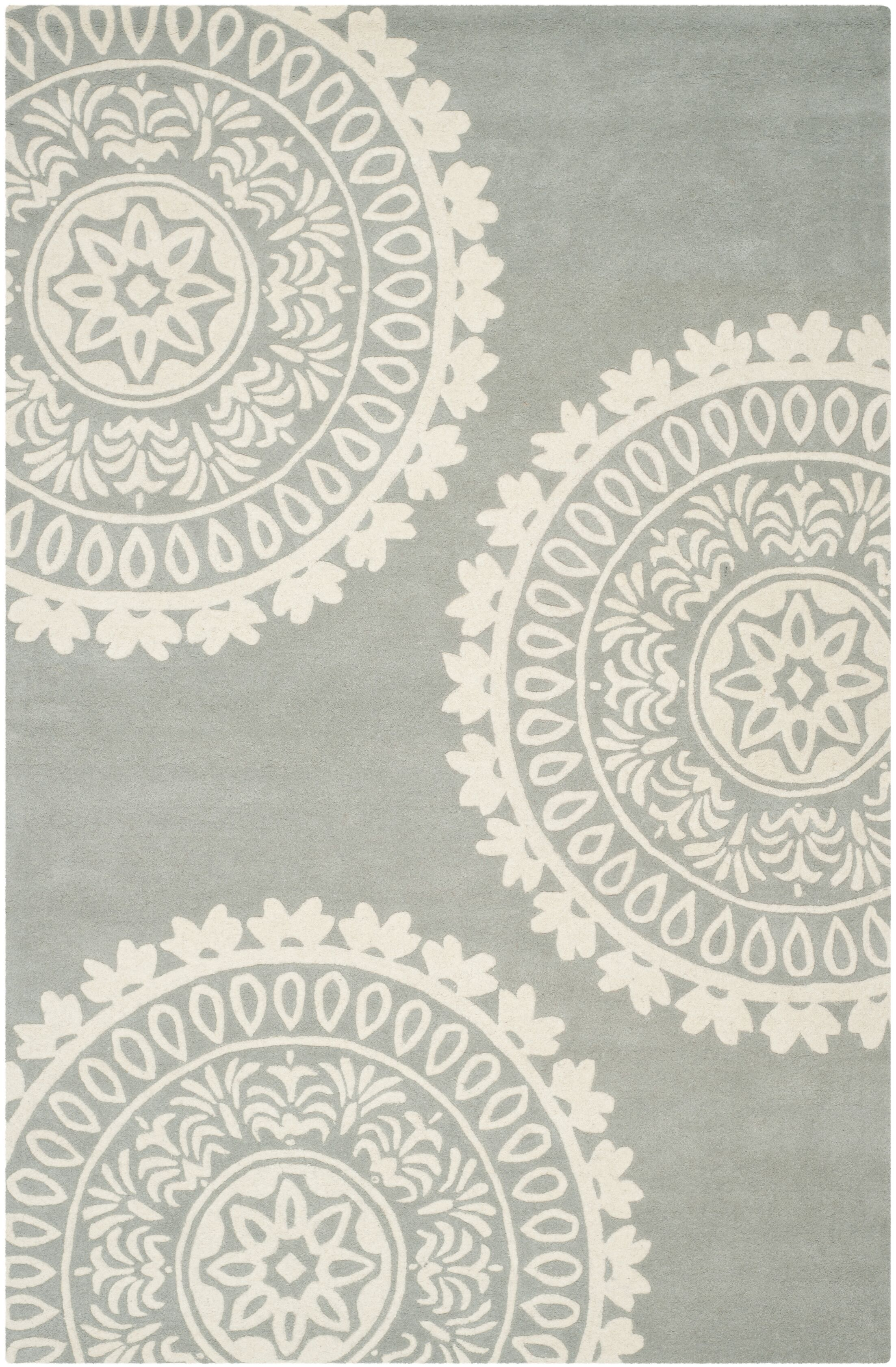 Harger Hand-Tufted Wool Gray/Ivory Area Rug Rug Size: Rectangle 3' x 5'