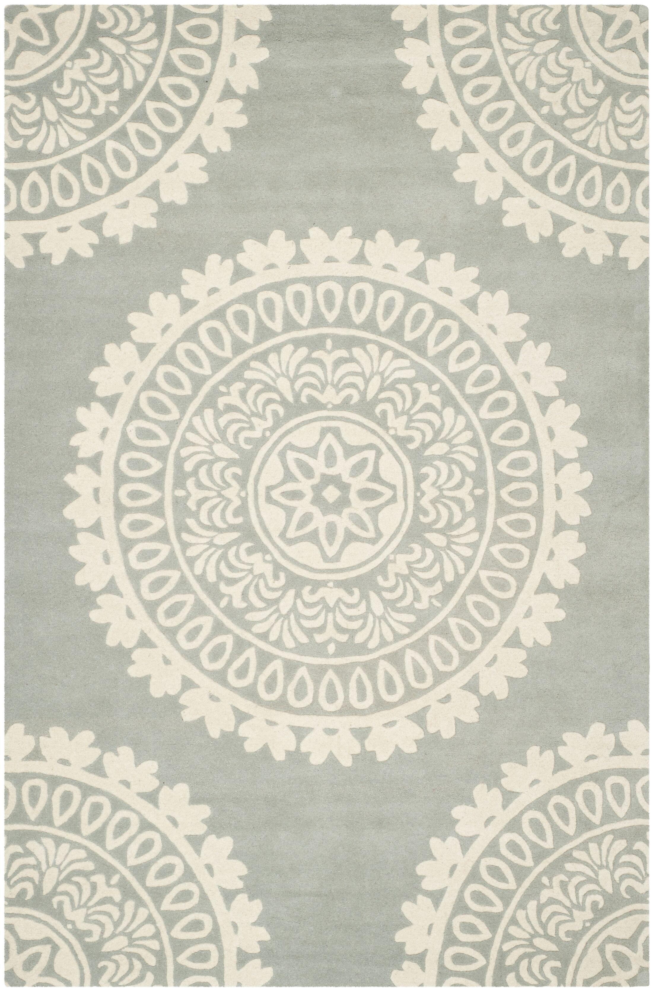 Crisler Hand-Woven Wool Gray Area Rug Rug Size: 5' x 8'