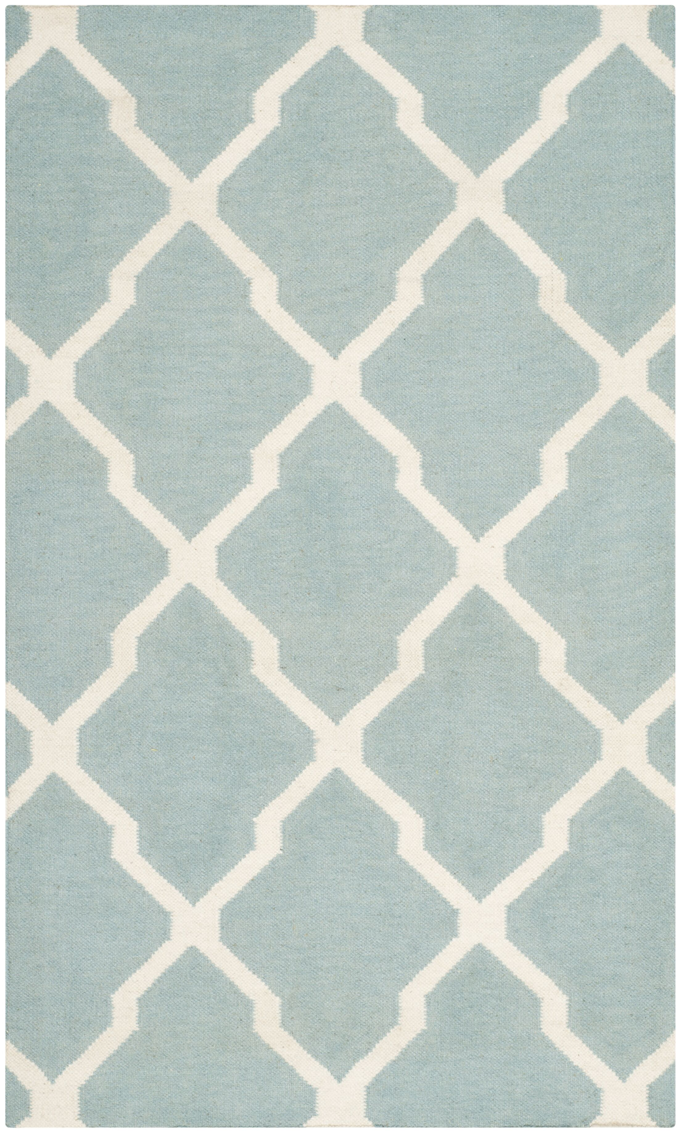 Dhurries Wool Light Blue/Ivory Area Rug Rug Size: Rectangle 3' x 5'