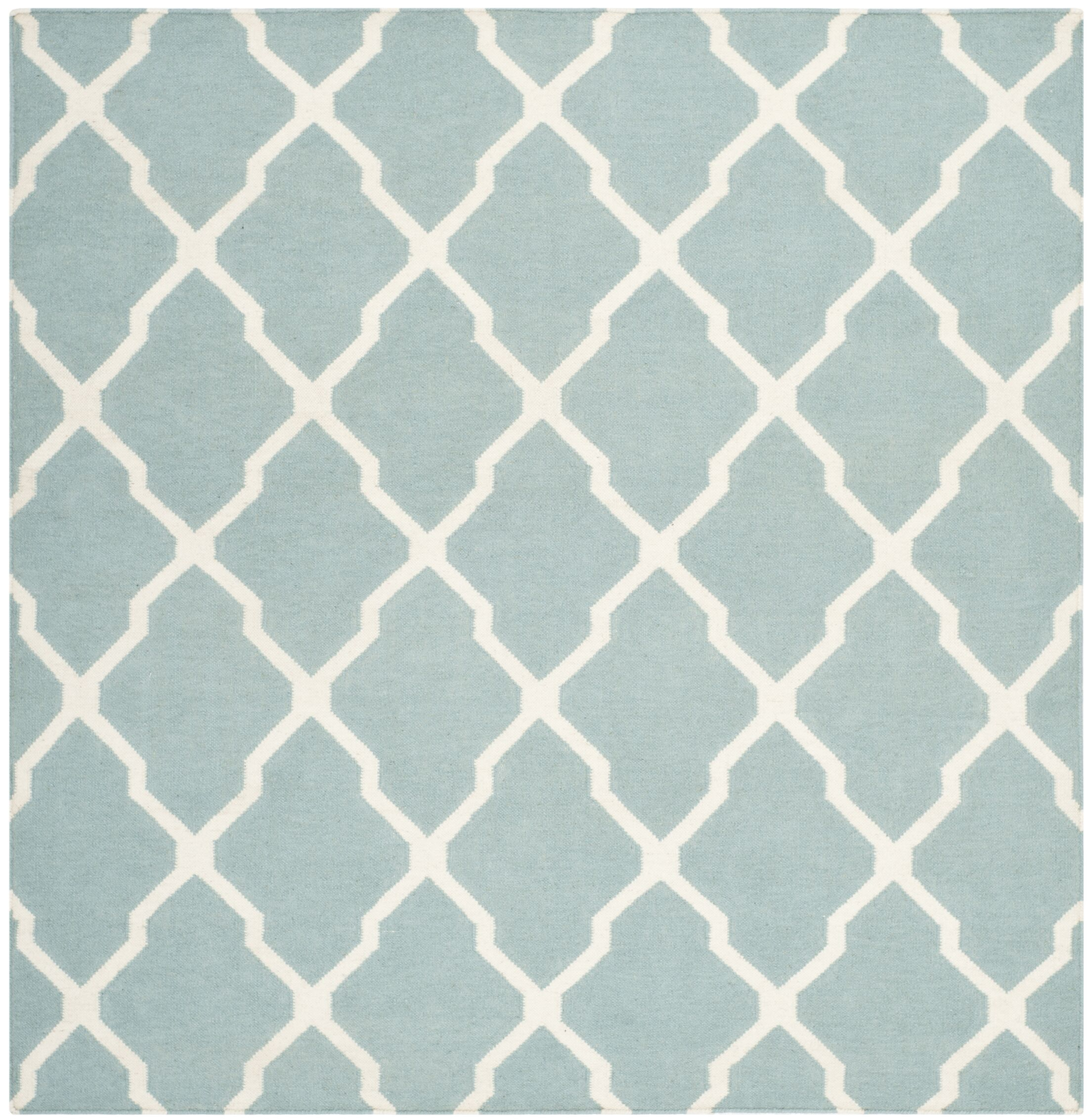 Dhurries Wool Light Blue/Ivory Area Rug Rug Size: Square 6'