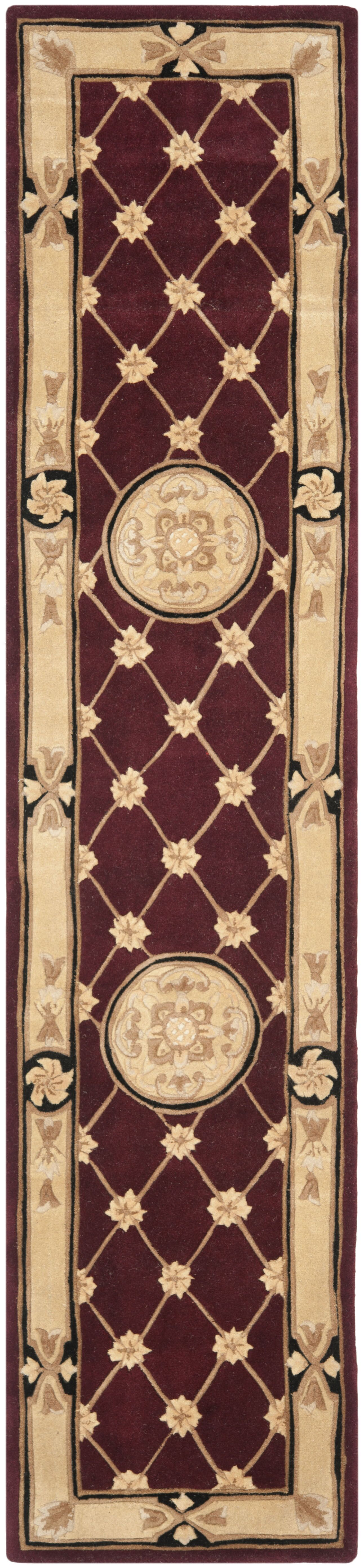 Naples Hand-Tufted Wool Burgundy/Ivory Area Rug Rug Size: Runner 2'3