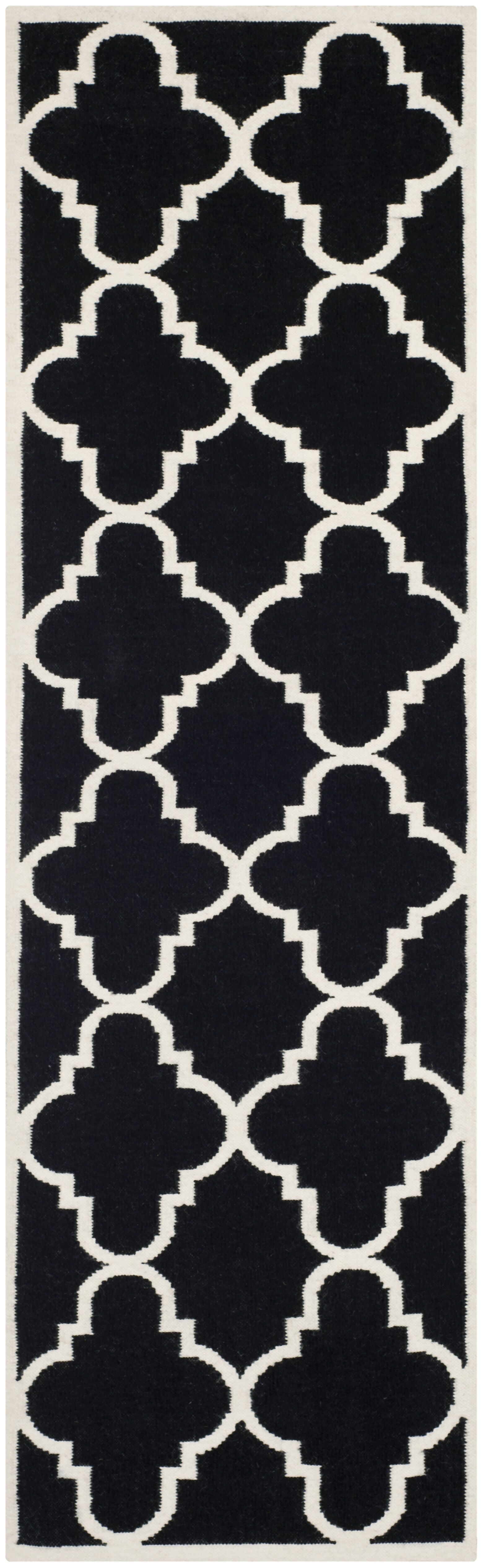 Dhurries Hand-Woven Wool Black/Ivory Area Rug Rug Size: Runner 2'6