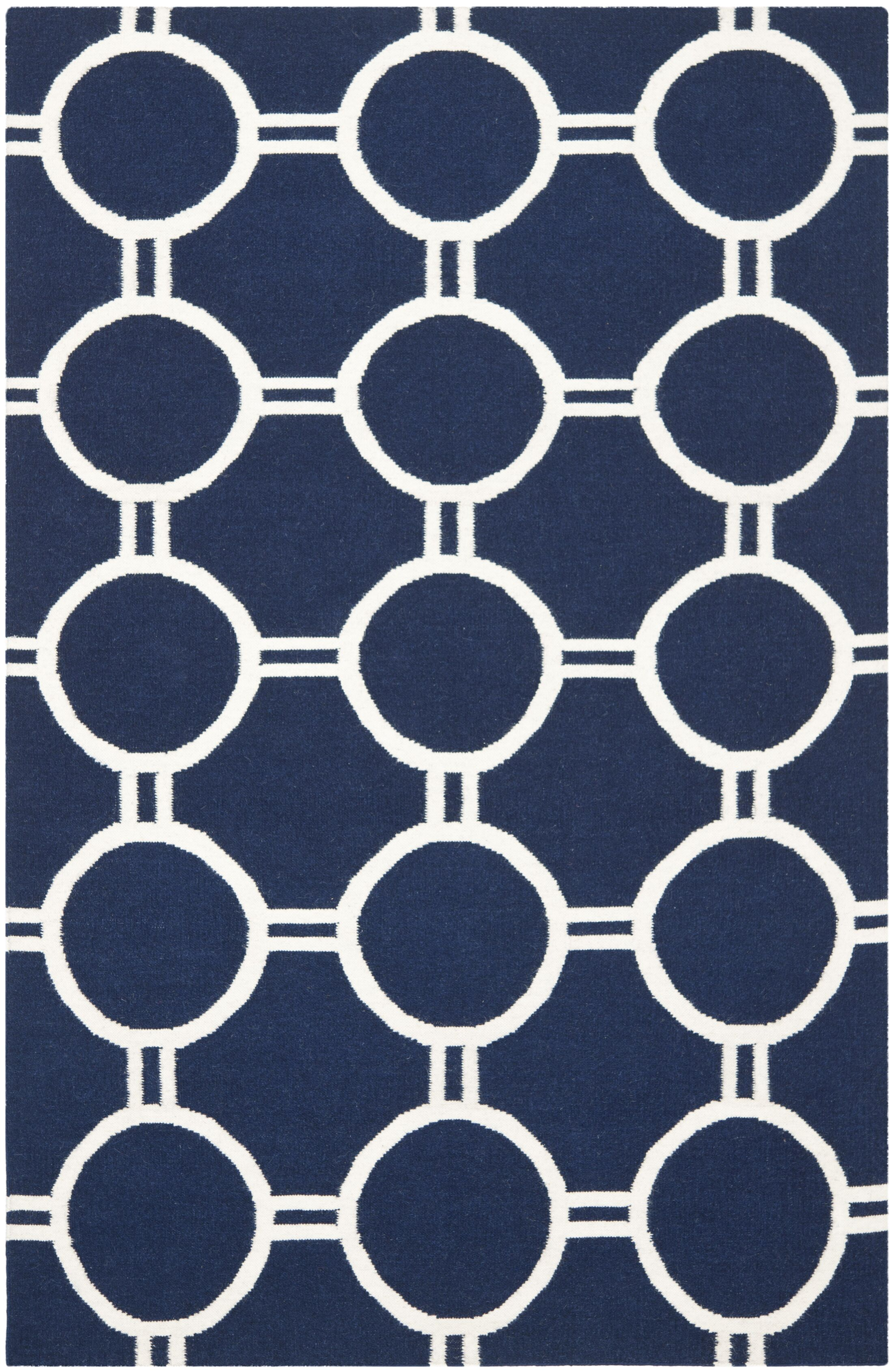 Dhurries Navy/Ivory Area Rug Rug Size: Rectangle 9' x 12'