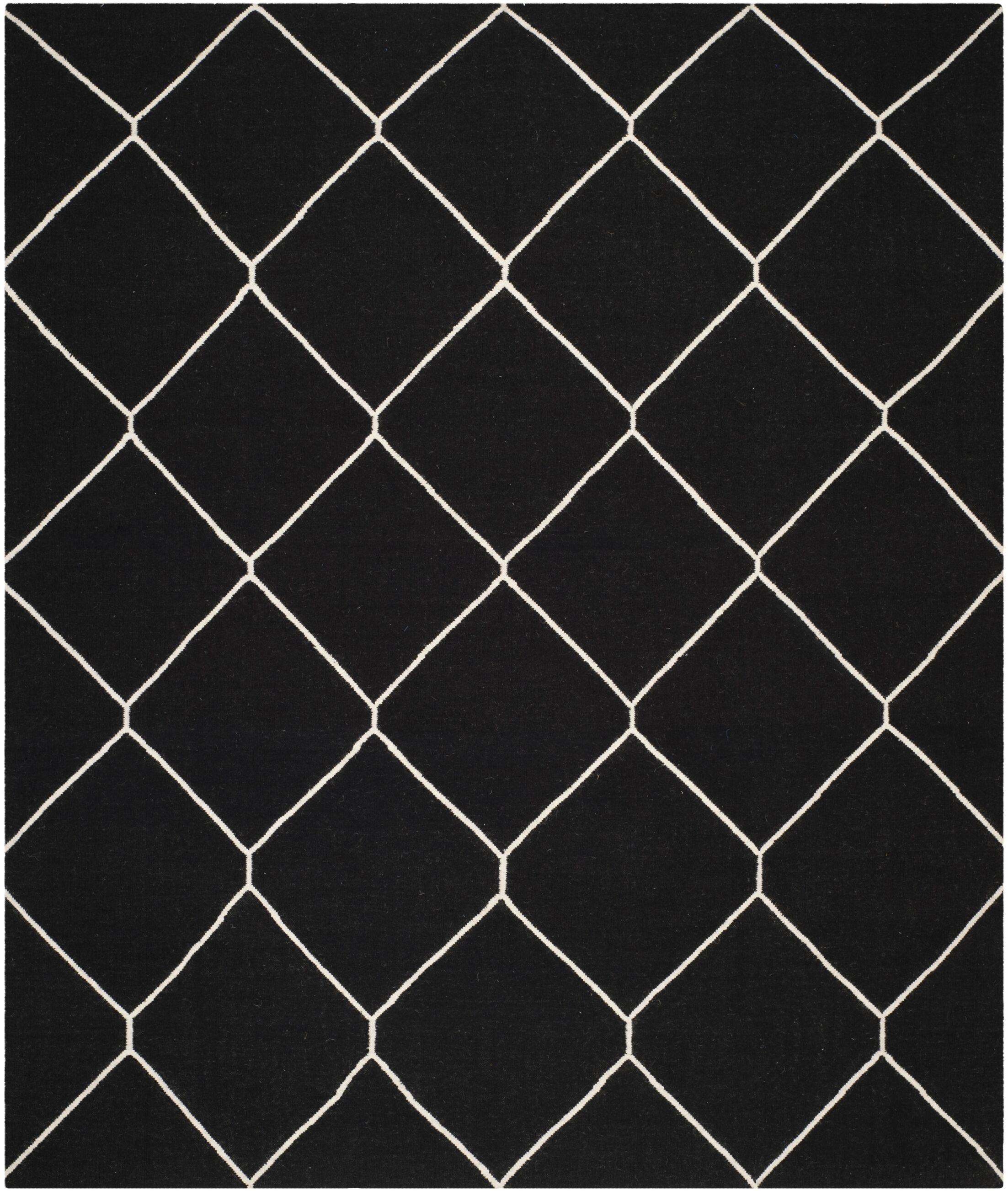 Dhurries Black/Ivory Area Rug Rug Size: Rectangle 8' x 10'