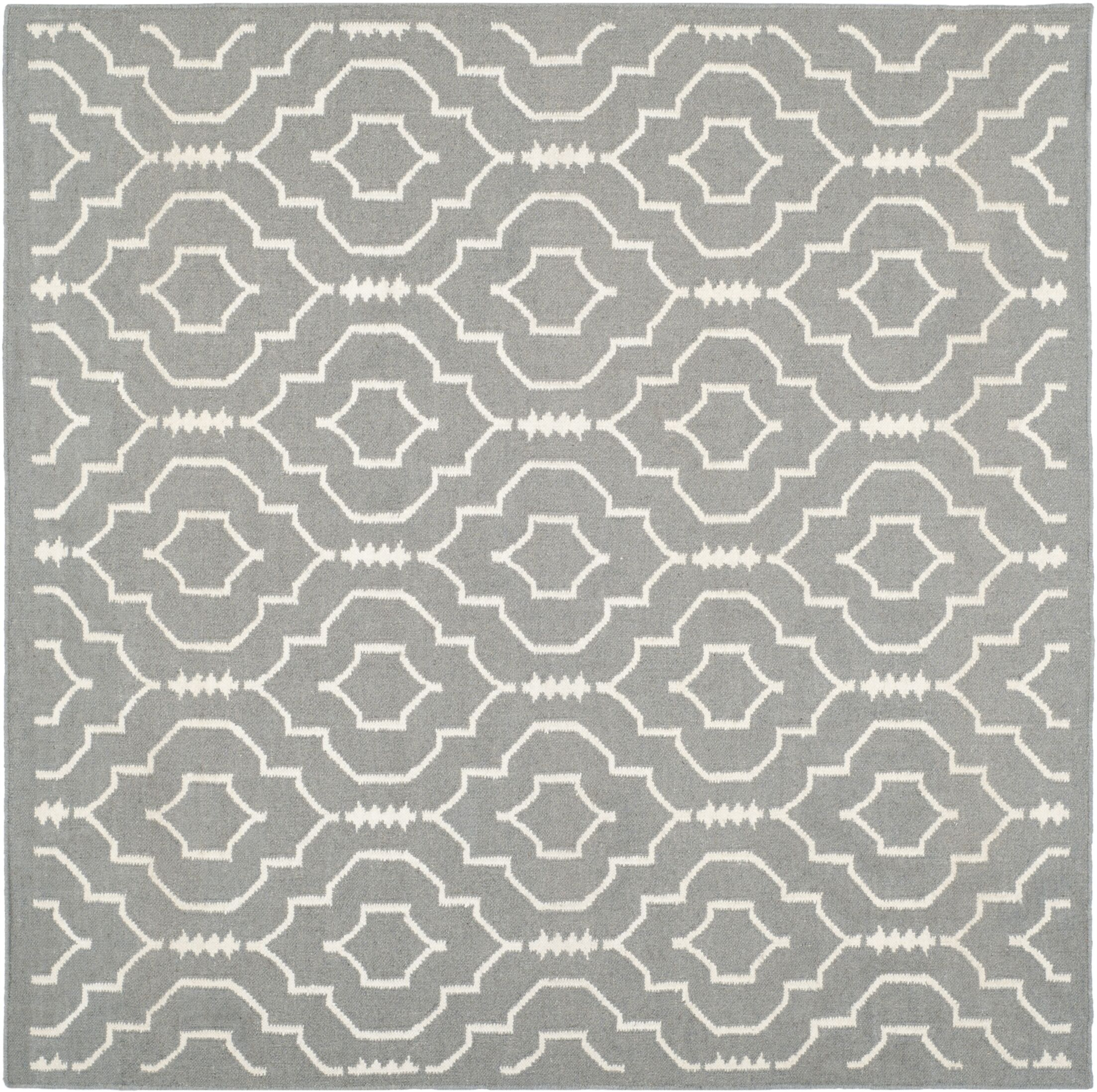 Crawford Hand-Woven Gray/Ivory Area Rug Rug Size: Square 6'